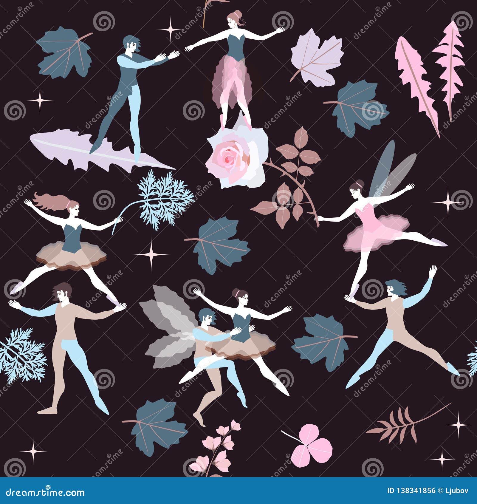 Seamless Magic Pattern With Cute Cartoon Ballet Dancers Fairies