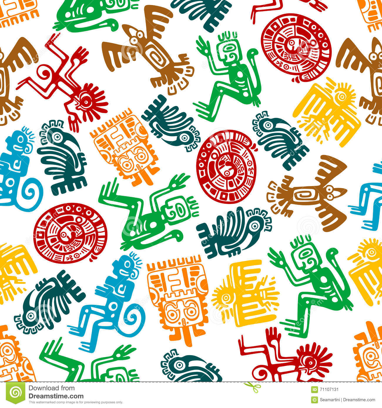 Seamless Mayan And Aztec Pattern Of Animal Totems Stock Vector  Image