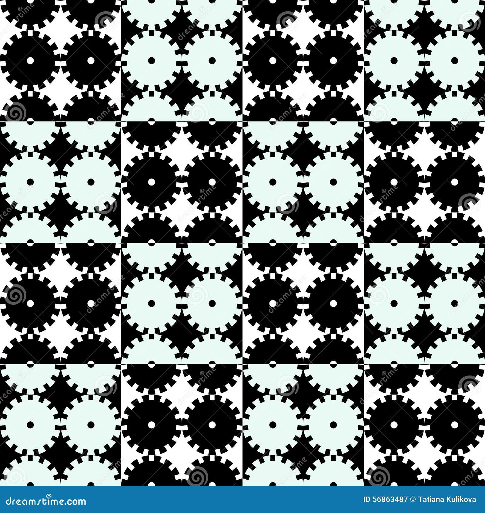 Seamless mechanics black and white background