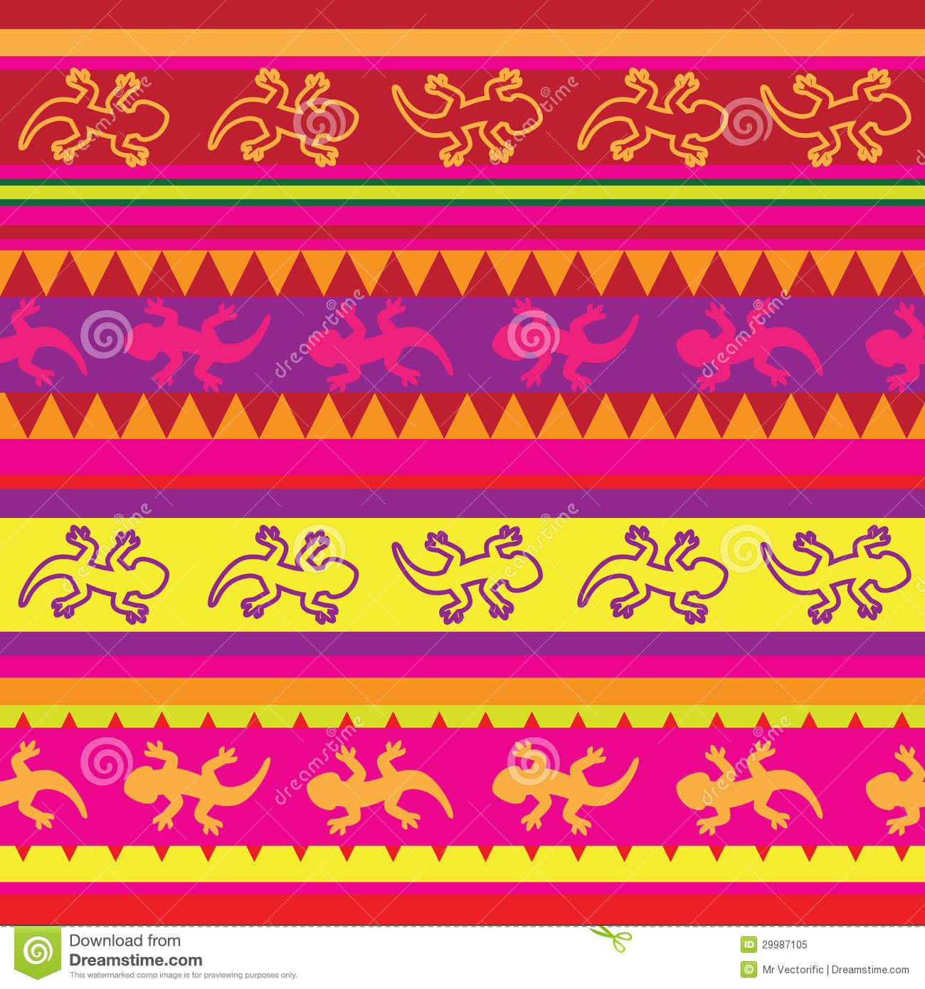 Seamless Mexican Lizard Fabric Pattern Royalty Free Stock
