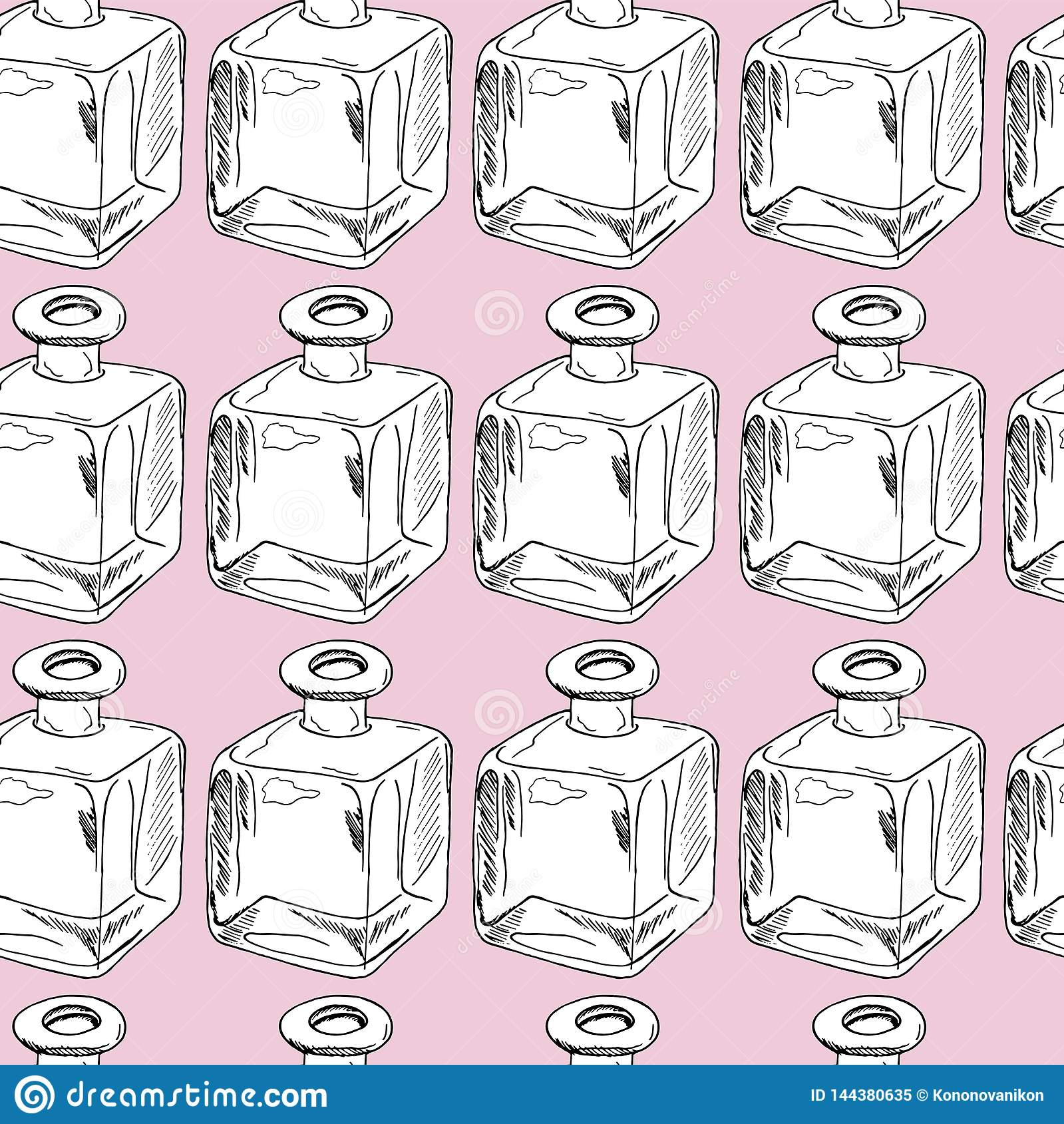 Seamless modell för handdraw för dof-fokus för flaskor grunt centralt exponeringsglas också vektor för coreldrawillustration
