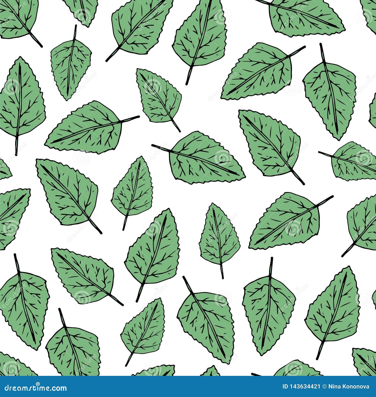Seamless modell för handdraw gröna leafs också vektor för coreldrawillustration