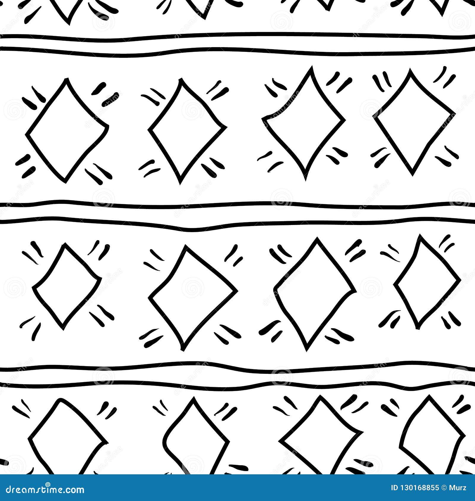 Seamless modell Hand dragen etnisk prydnad tiling för designeps för 10 bakgrund vektor för tech