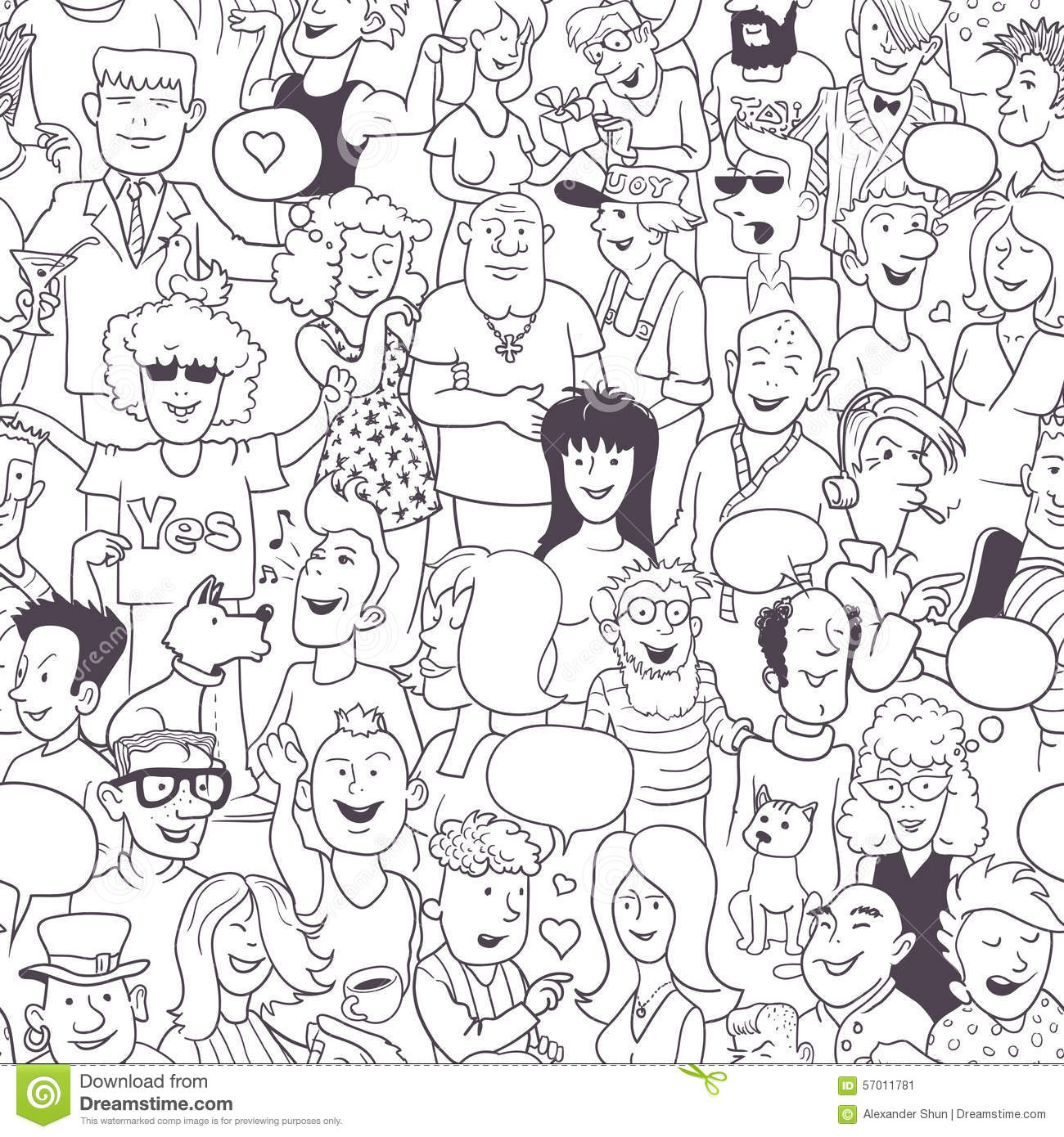 Seamless Modern Art Pattern: Collection Of Hand-Drawn