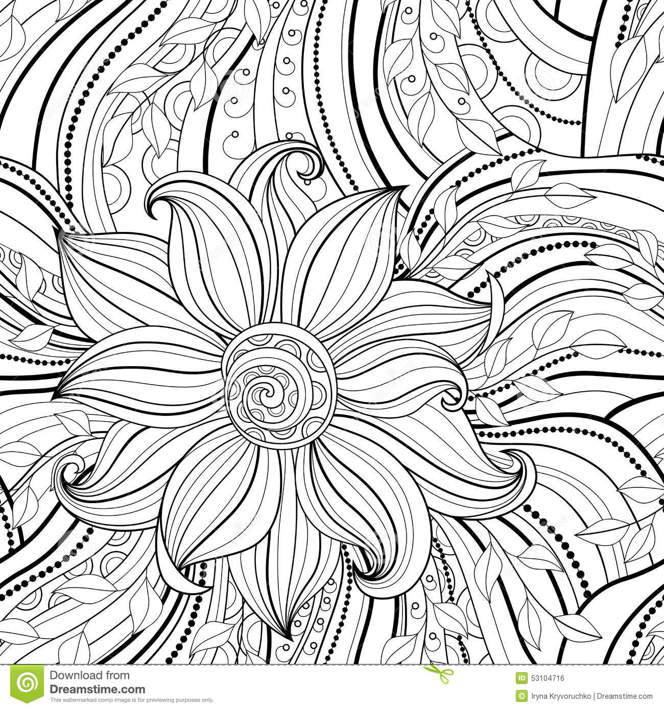 Seamless Monochrome Floral Pattern Stock Vector
