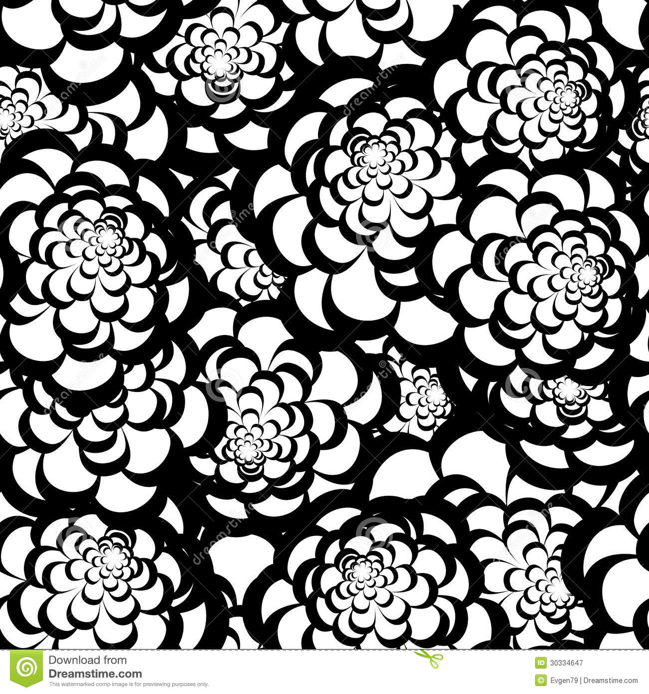 Dark Floral Ii Black Saturated Xl Wallpaper: Seamless Monochrome Floral Pattern Royalty Free Stock