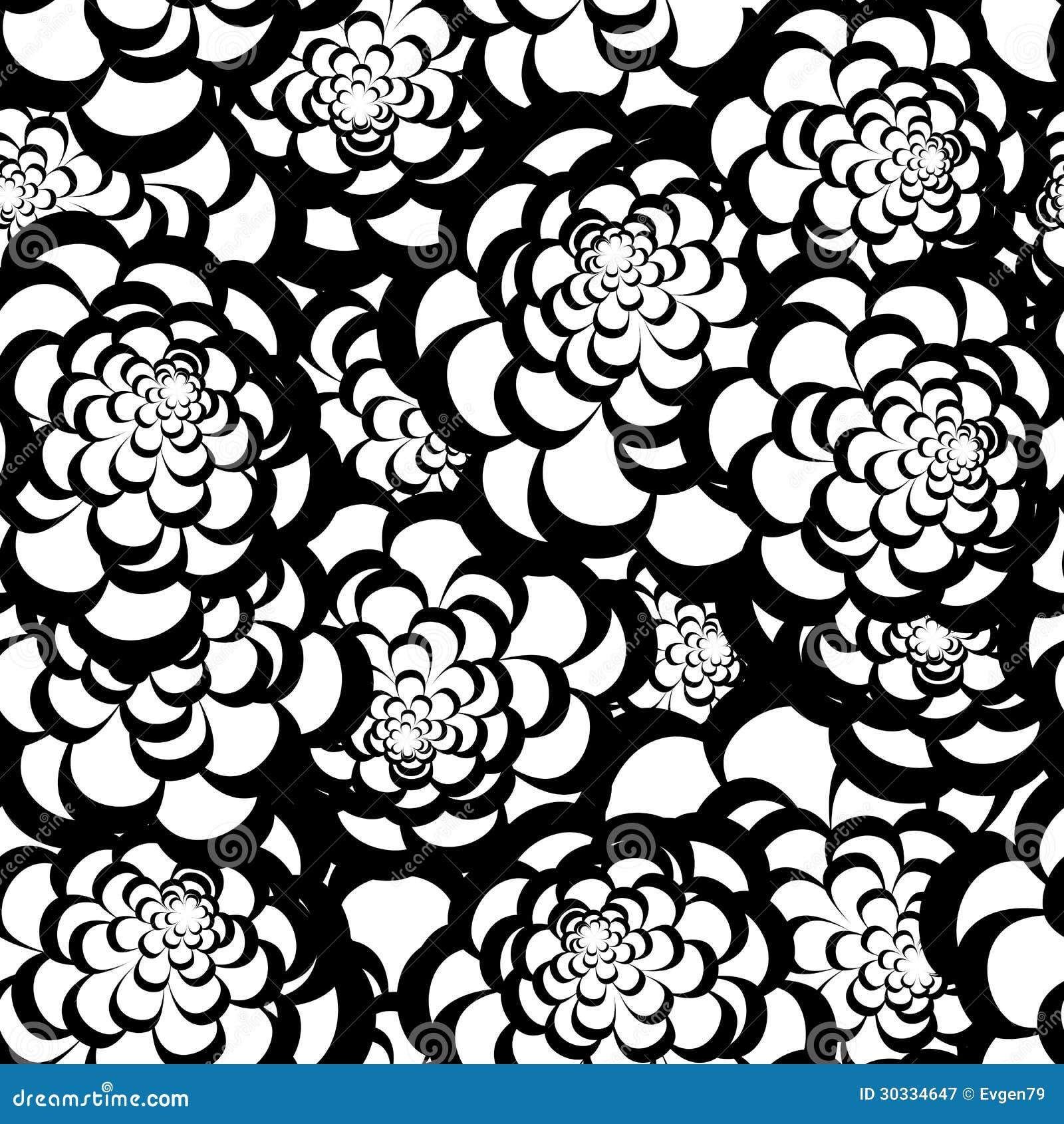 Seamless Monochrome Floral Pattern Royalty Free Stock