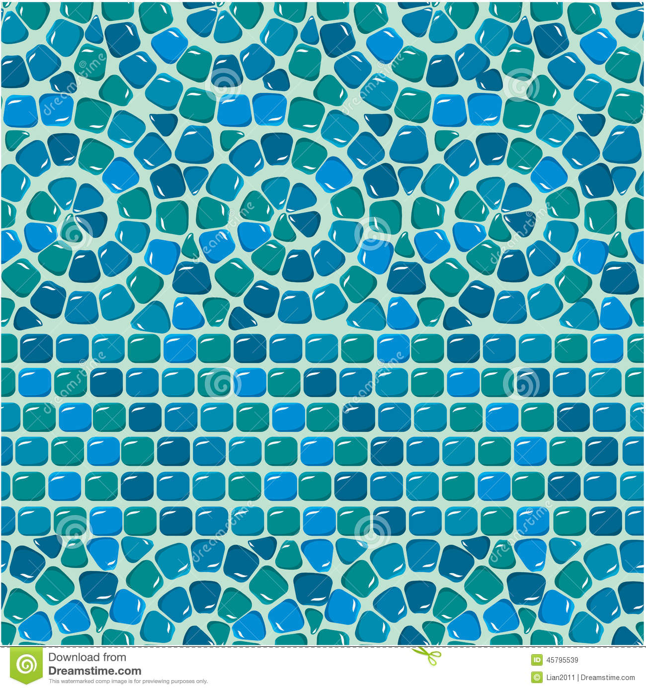 Seamless Mosaic Pattern - Blue Ceramic Tile Stock Vector ...