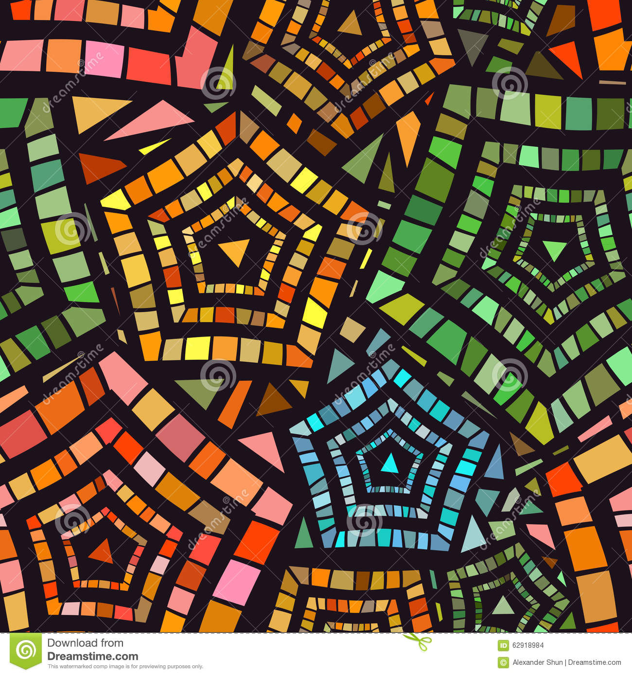 Seamless Mosaic Pattern For Textile Design Stock Vector