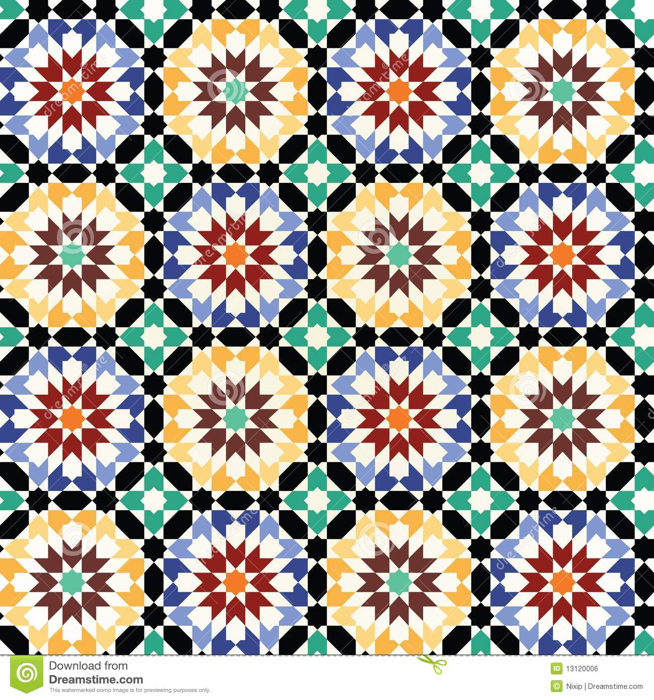 Seamless Mosaic Tile Pattern Vector Stock Vector - Illustration of