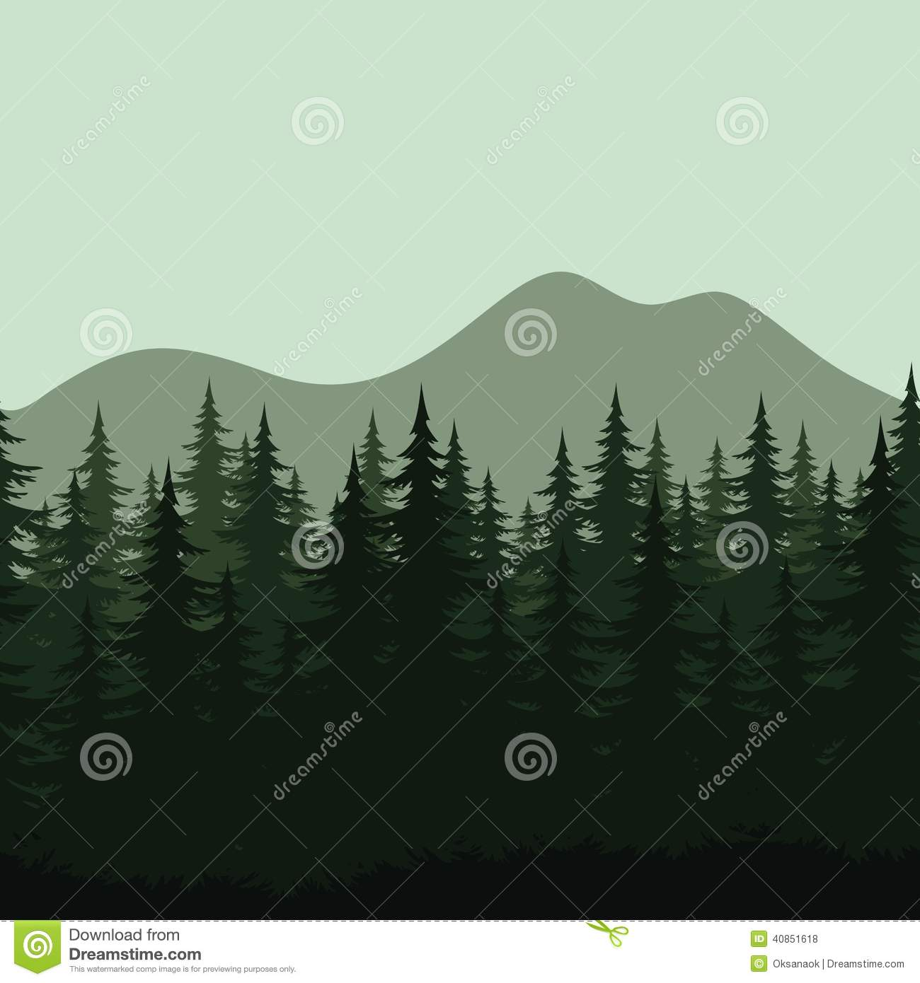 Seamless Mountain Landscape Forest Silhouettes Stock