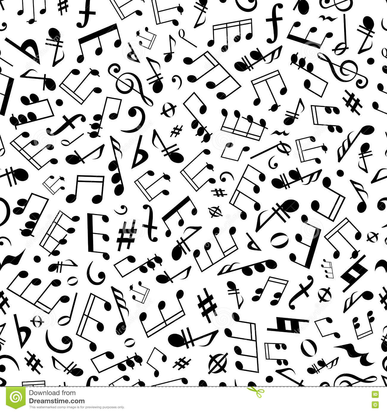 Seamless music notes and marks background pattern stock vector seamless music notes and marks background pattern hexwebz Image collections