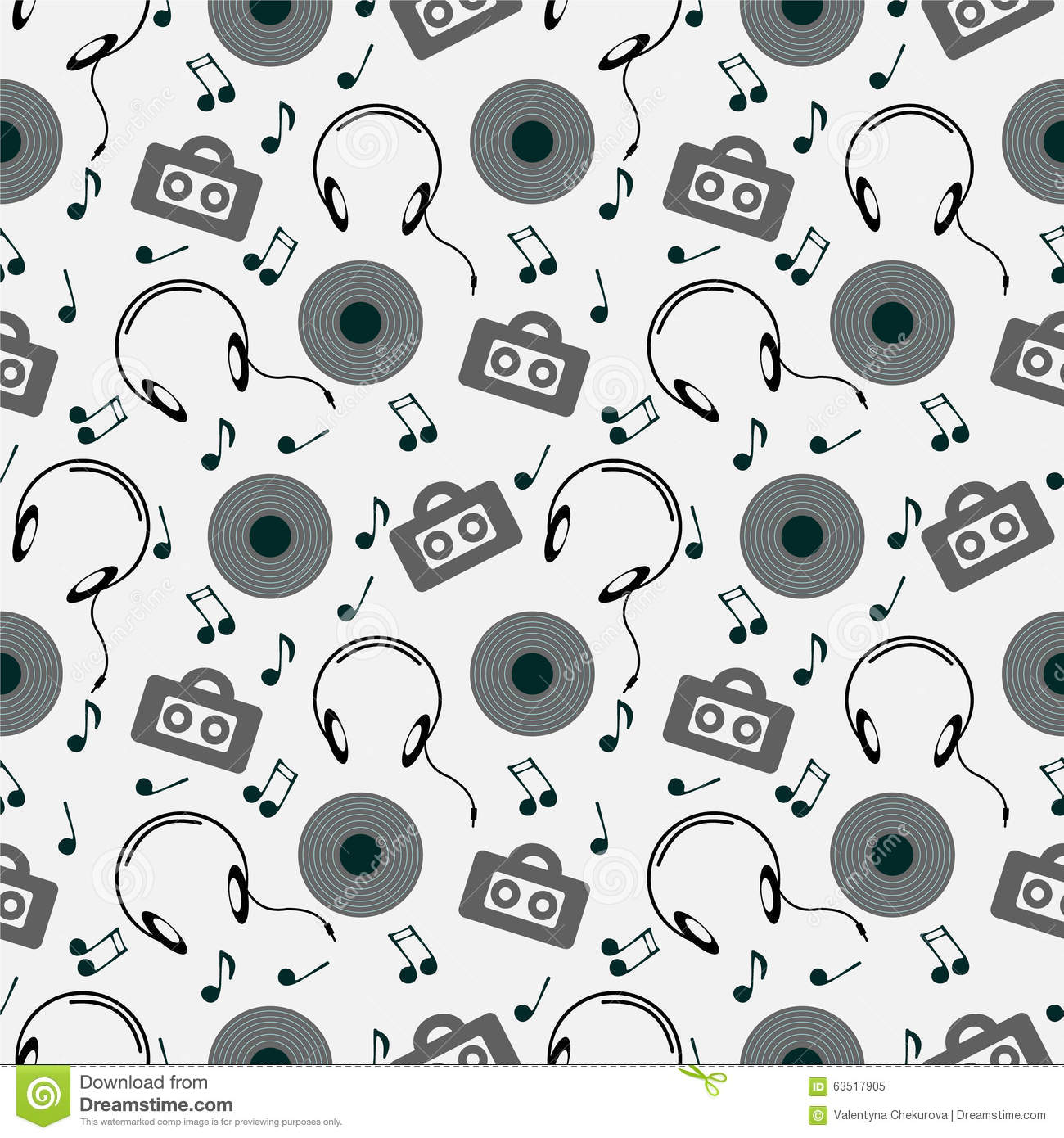 Seamless Music Vector Pattern Chaotic Background With