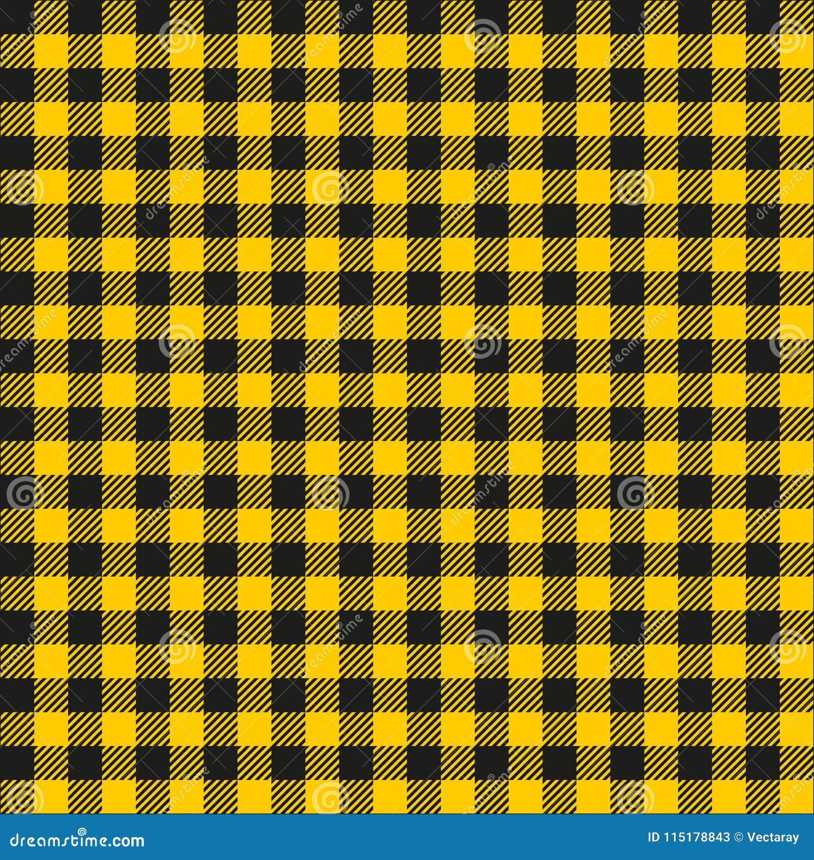 Seamless Mustard Yellow And Black Checkered Fabric Pattern