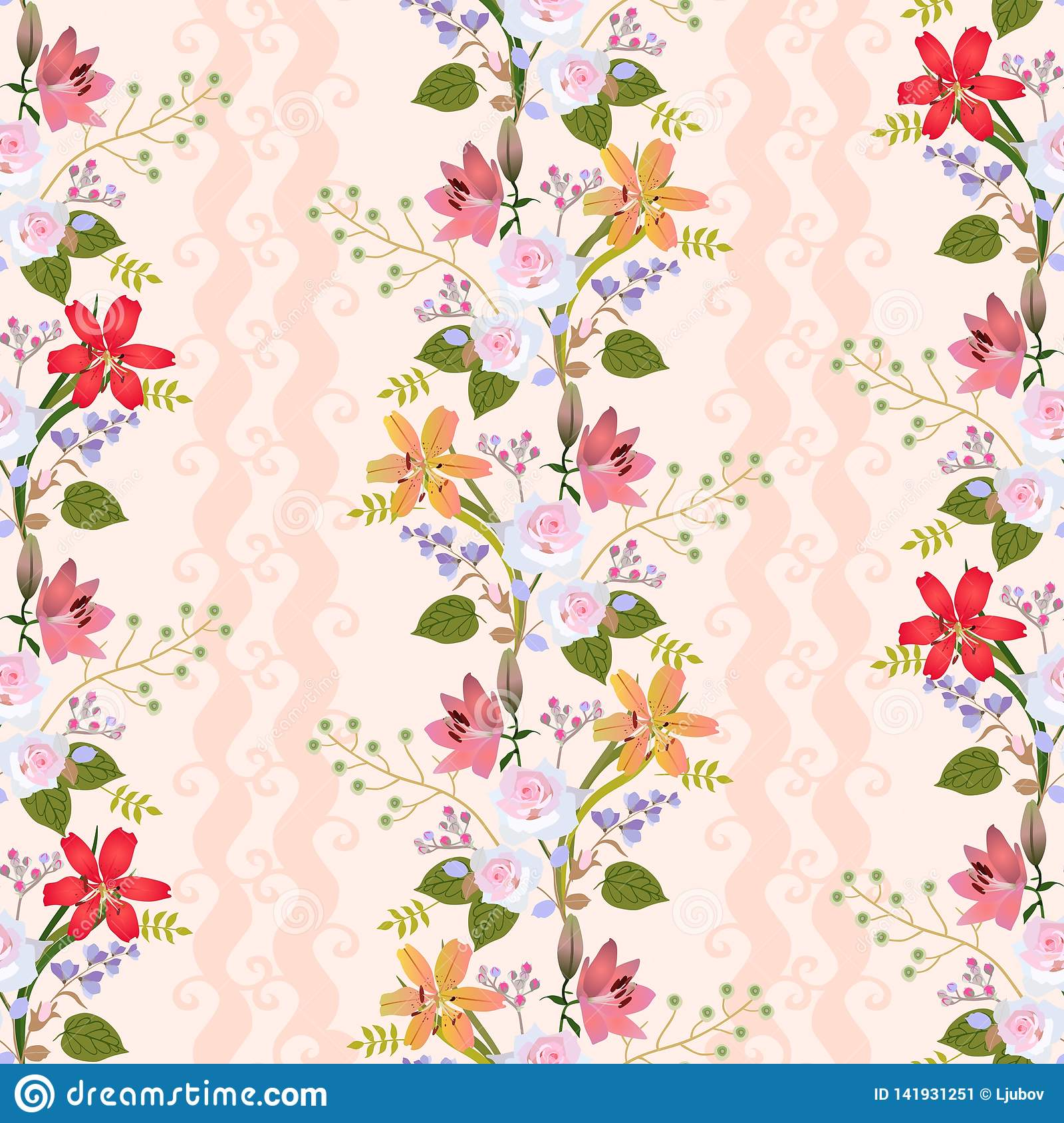 Seamless natural pattern with romantic floral wreath of lilies, roses, bell flowers, buds of spirea and branches with berries