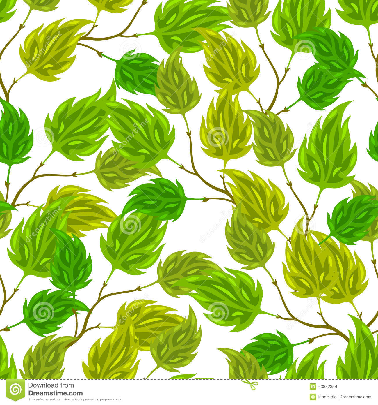 Seamless nature pattern with stylized green leaves