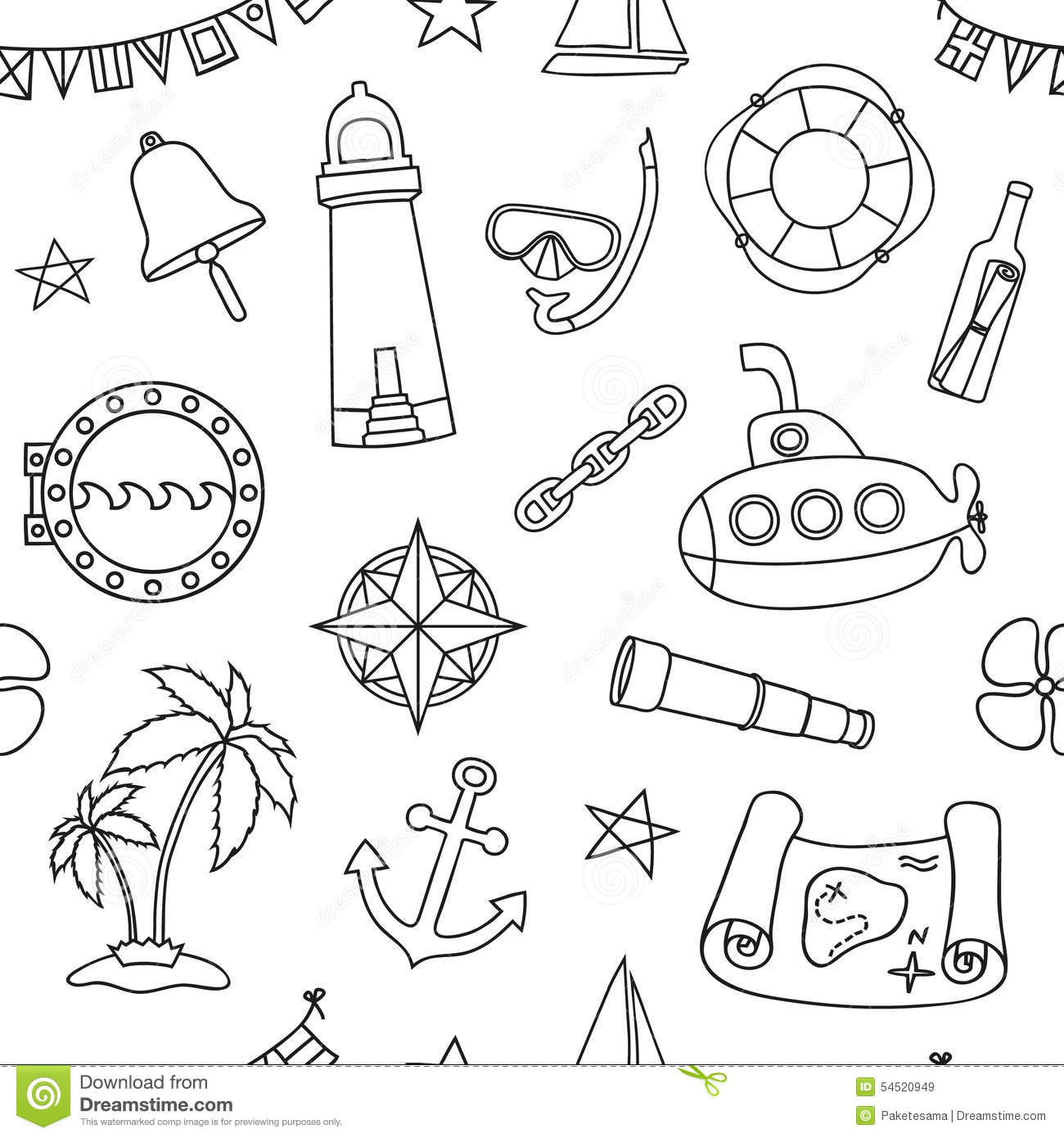 Seamless nautical pattern stock vector image 54520949 for Graphic design coloring pages