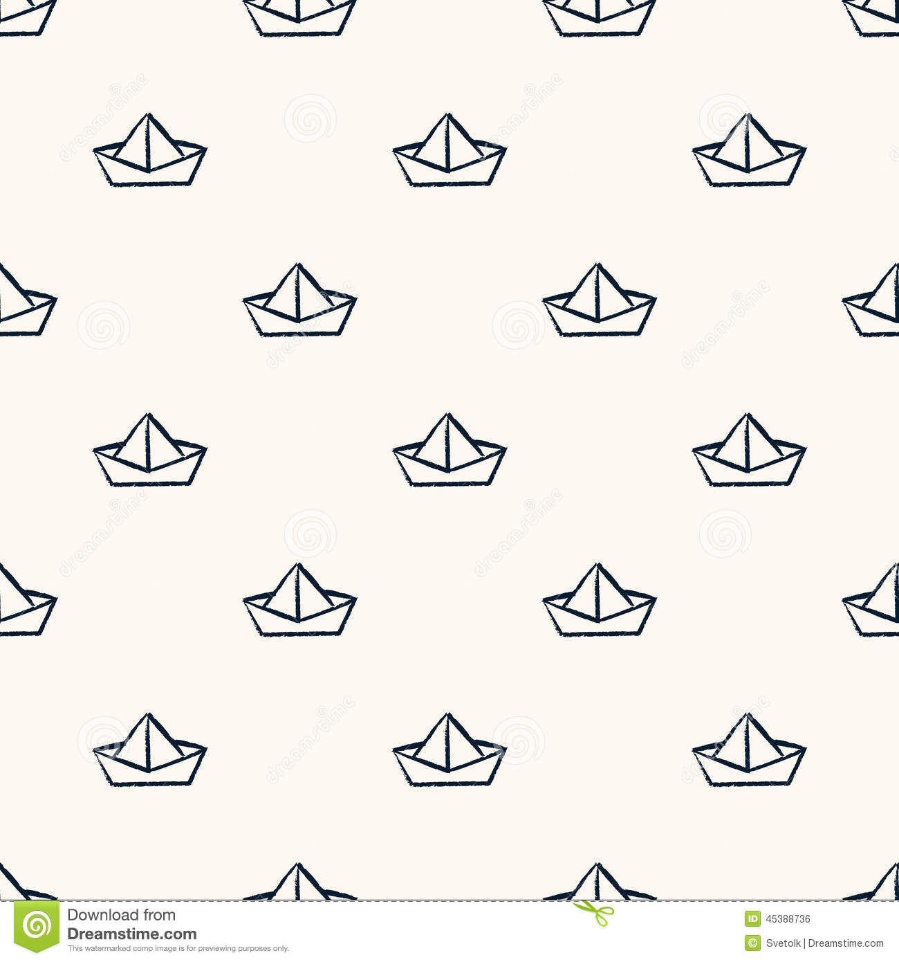 Seamless nautical pattern with paper boats. Can be used for wallpaper ...