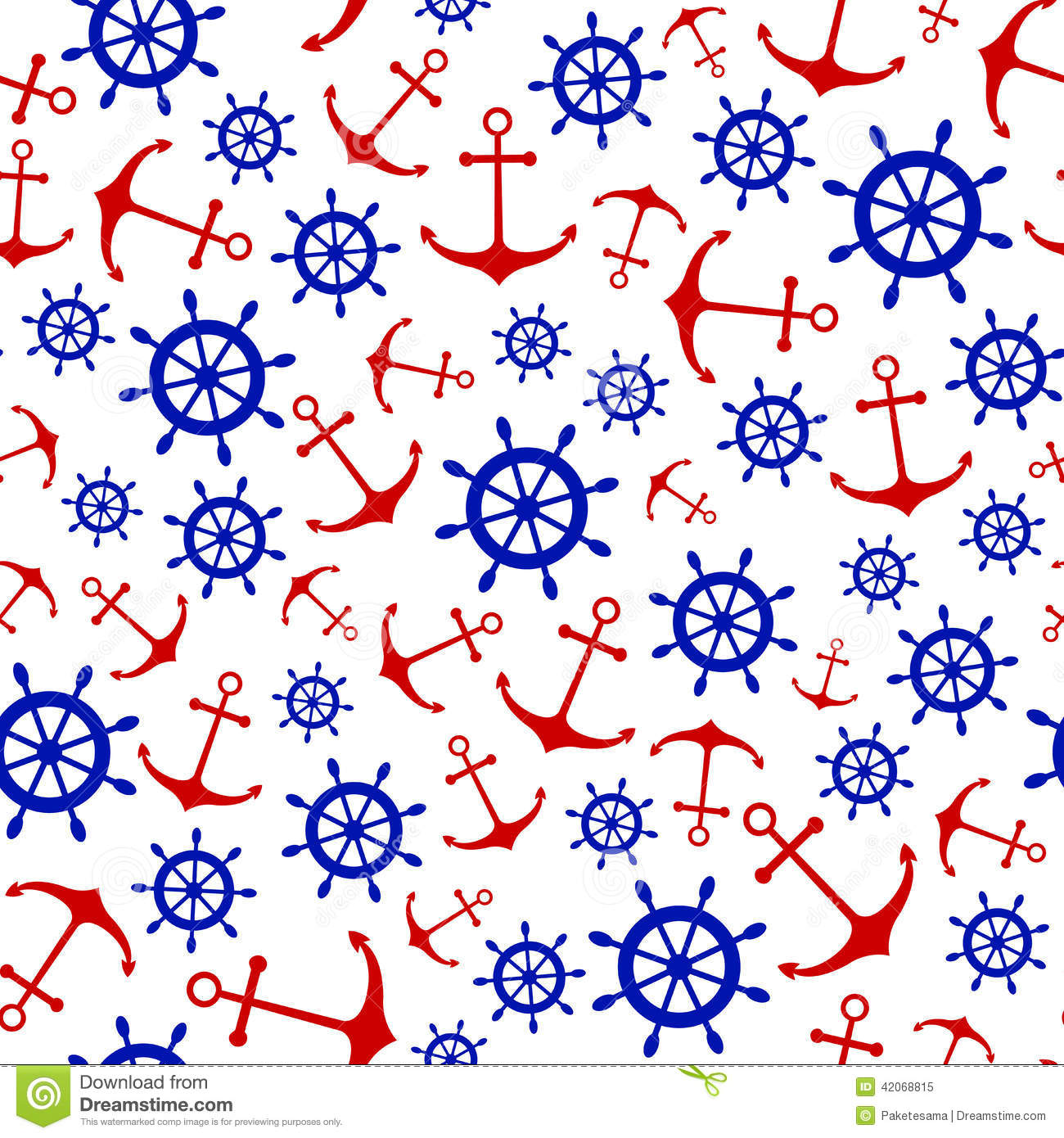 Seamless Nautical Pattern With Scattered Red Stock Vector ...