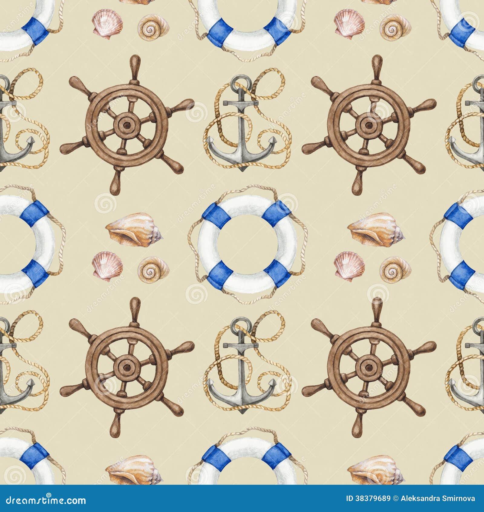Seamless Nautical Pattern Stock Illustration Of
