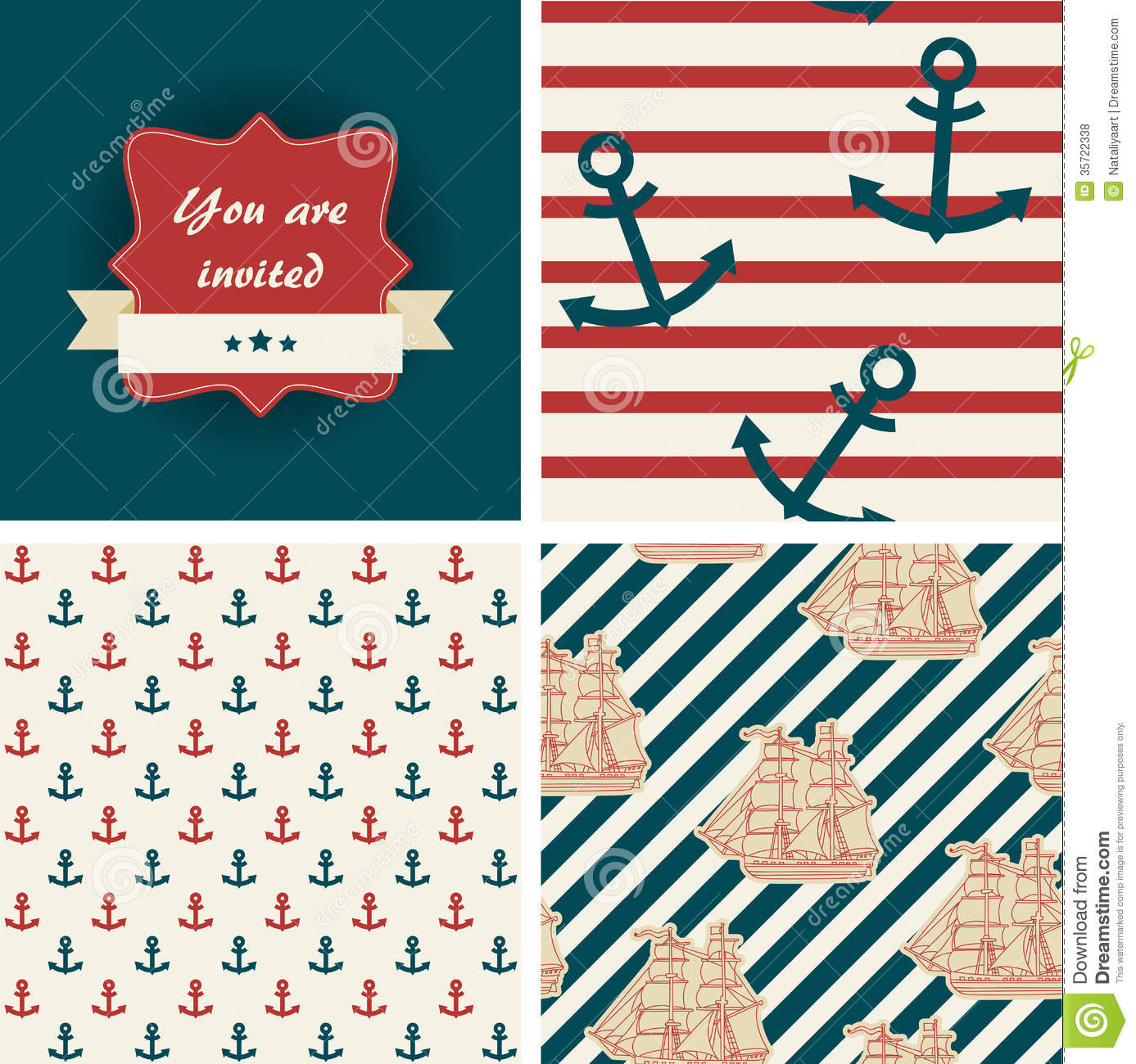 Seamless nautical patterns stock vector. Image of ornament ...