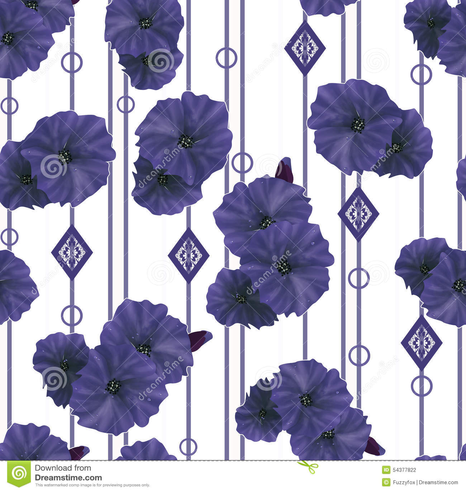 seamless navy poppy flowers pattern background stock illustration