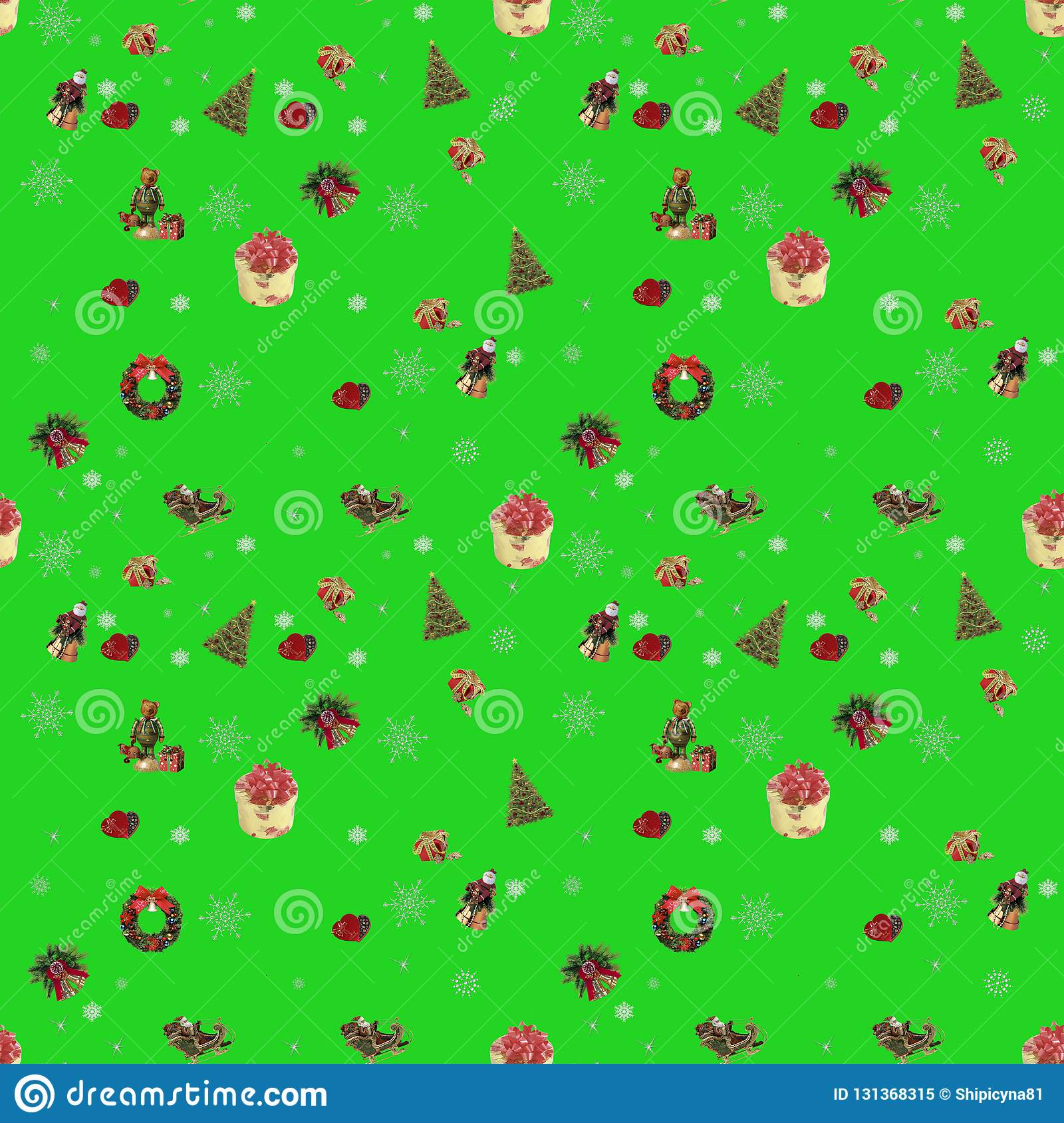 Christmas Green Color.Seamless New Year Background For Holiday Decoration Lime