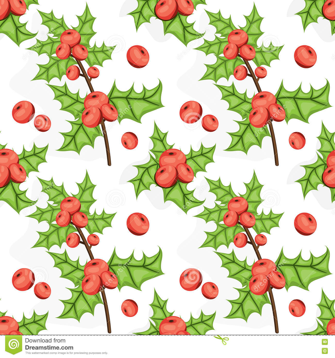 Seamless Noel pattern with holly berry. Tile Christmas background. Vector illustrated repeating texture. Holiday wrapping paper.