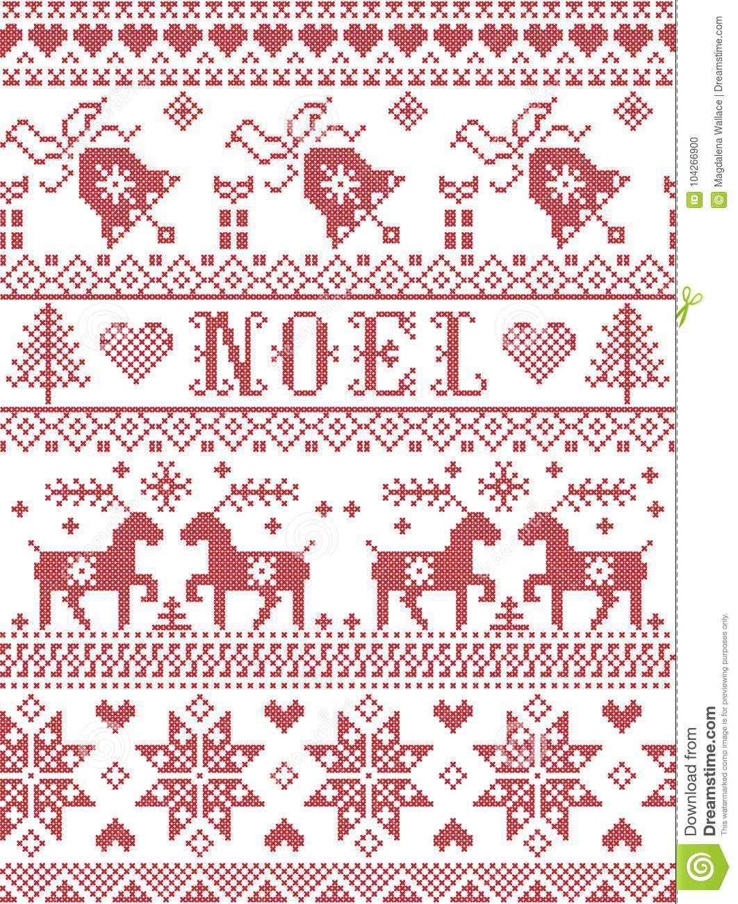 Norwegian Christmas.Seamless Noel Scandinavian Fabric Style Inspired By