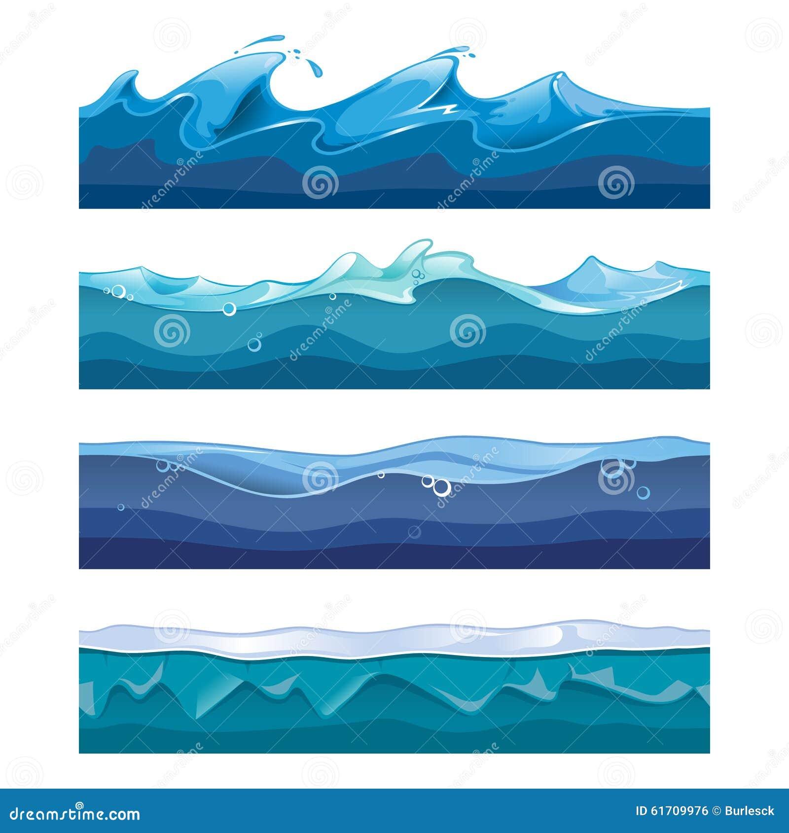 Seamless Ocean Sea Water Waves Vector Stock Vector