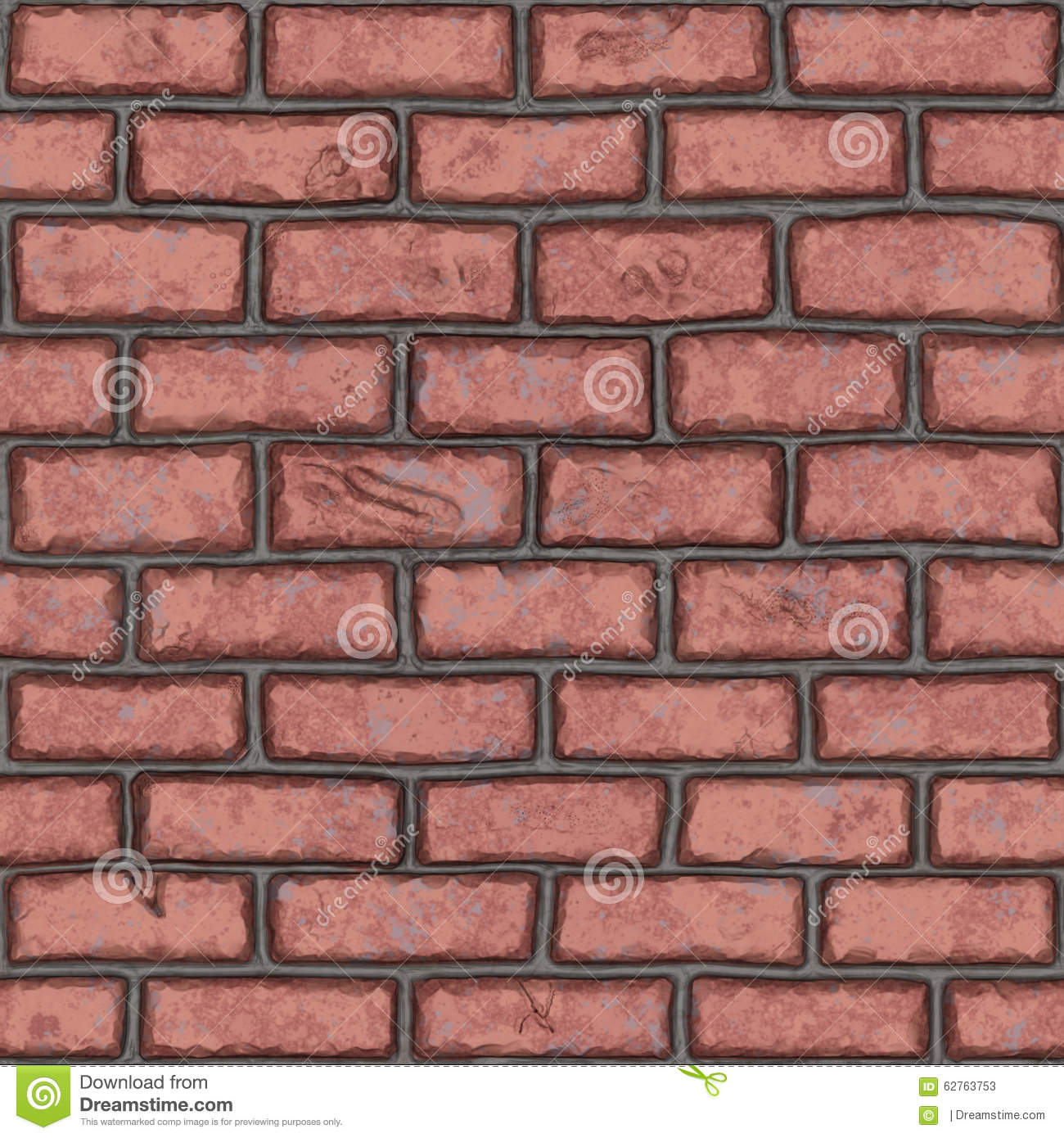 Seamless Old Red Brick Wall (handpainted) Stock