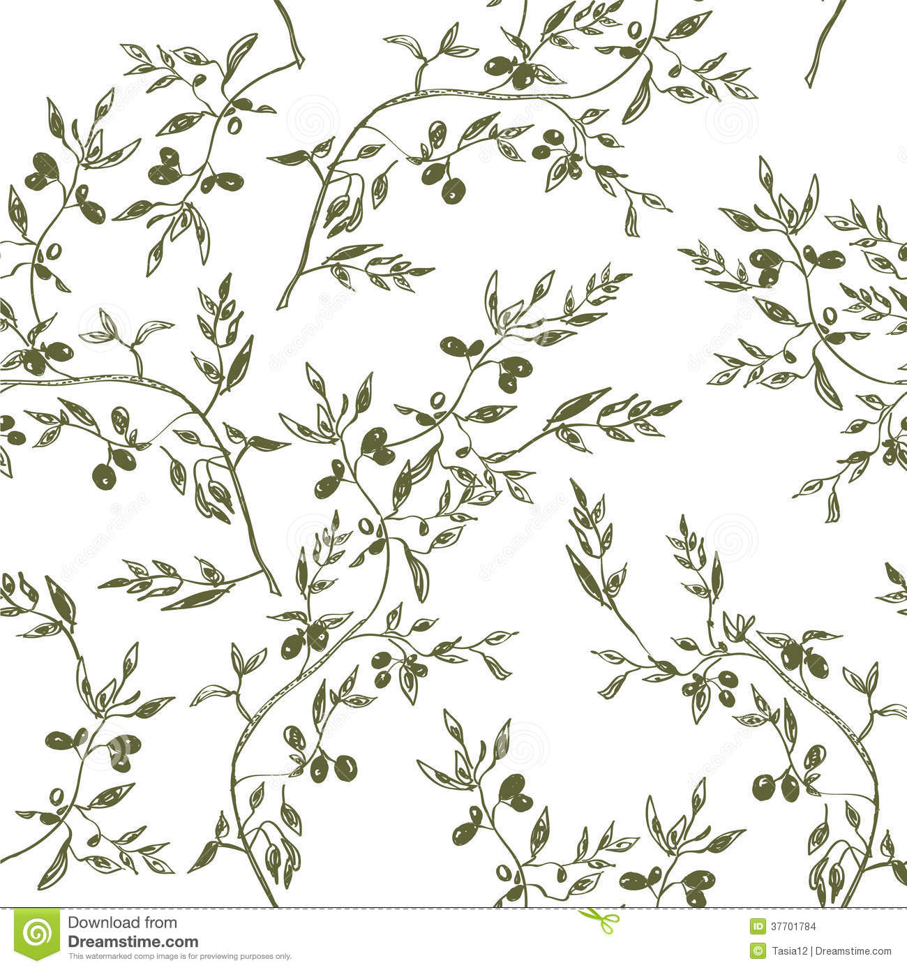 Plant Room Divider Seamless Olive Branch Pattern Hand Drawn Stock Vector