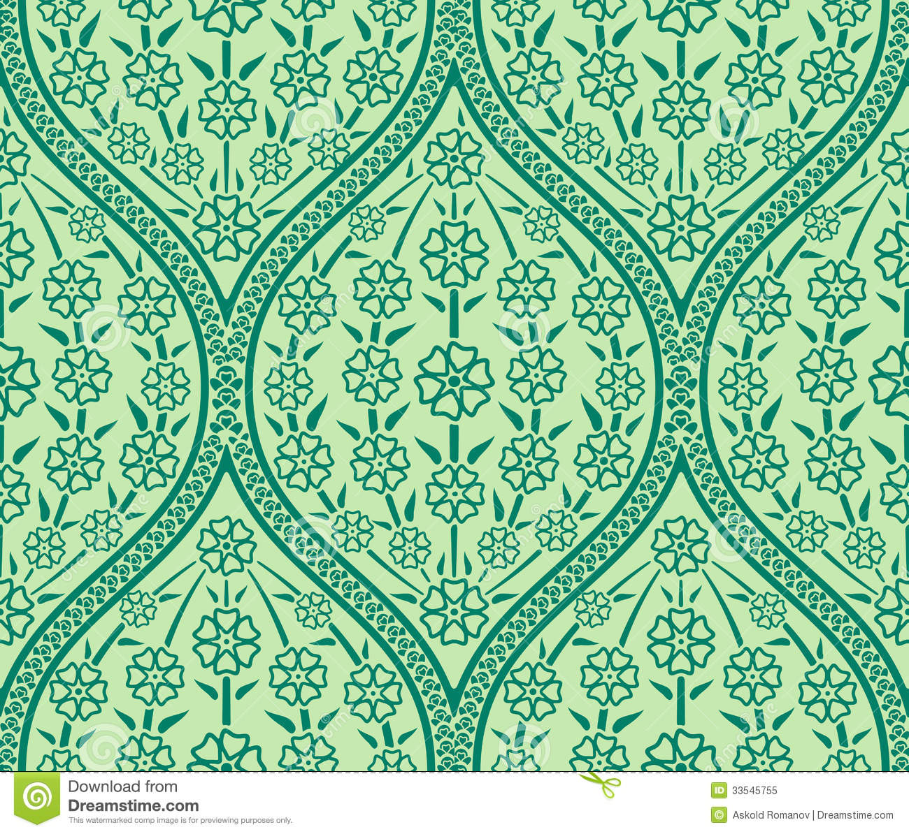 seamless oriental floral pattern stock image