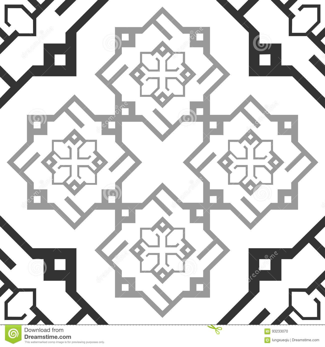 Seamless Ornament Black And White Repetitive Pattern Tile Texture Transparent Background Arab Ellegance