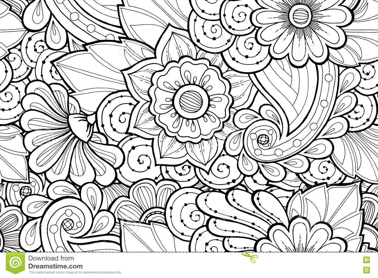 seamless ornamental black and white pattern with stylized