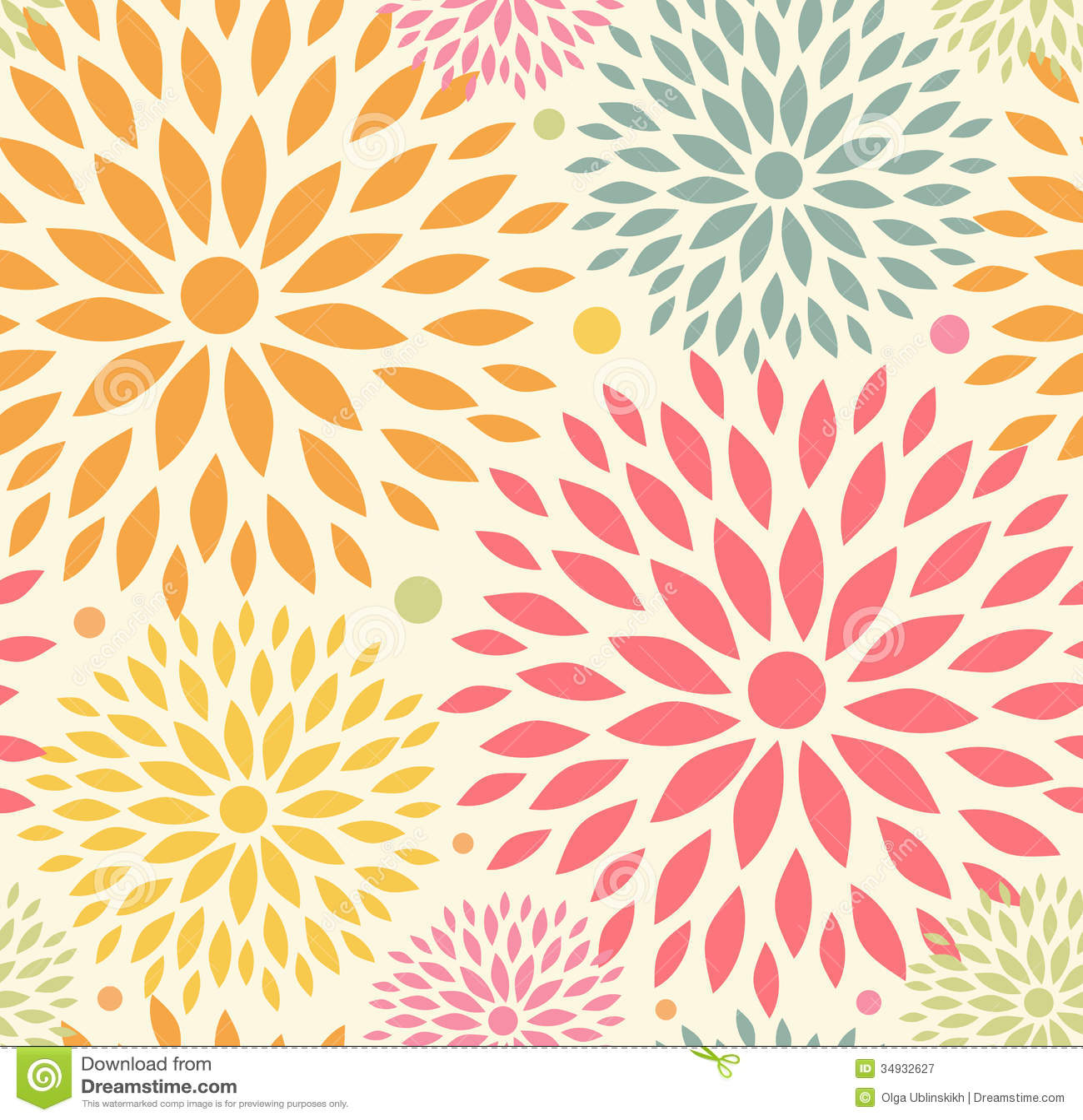 Seamless Ornamental Floral Pattern Decorative Cute Background