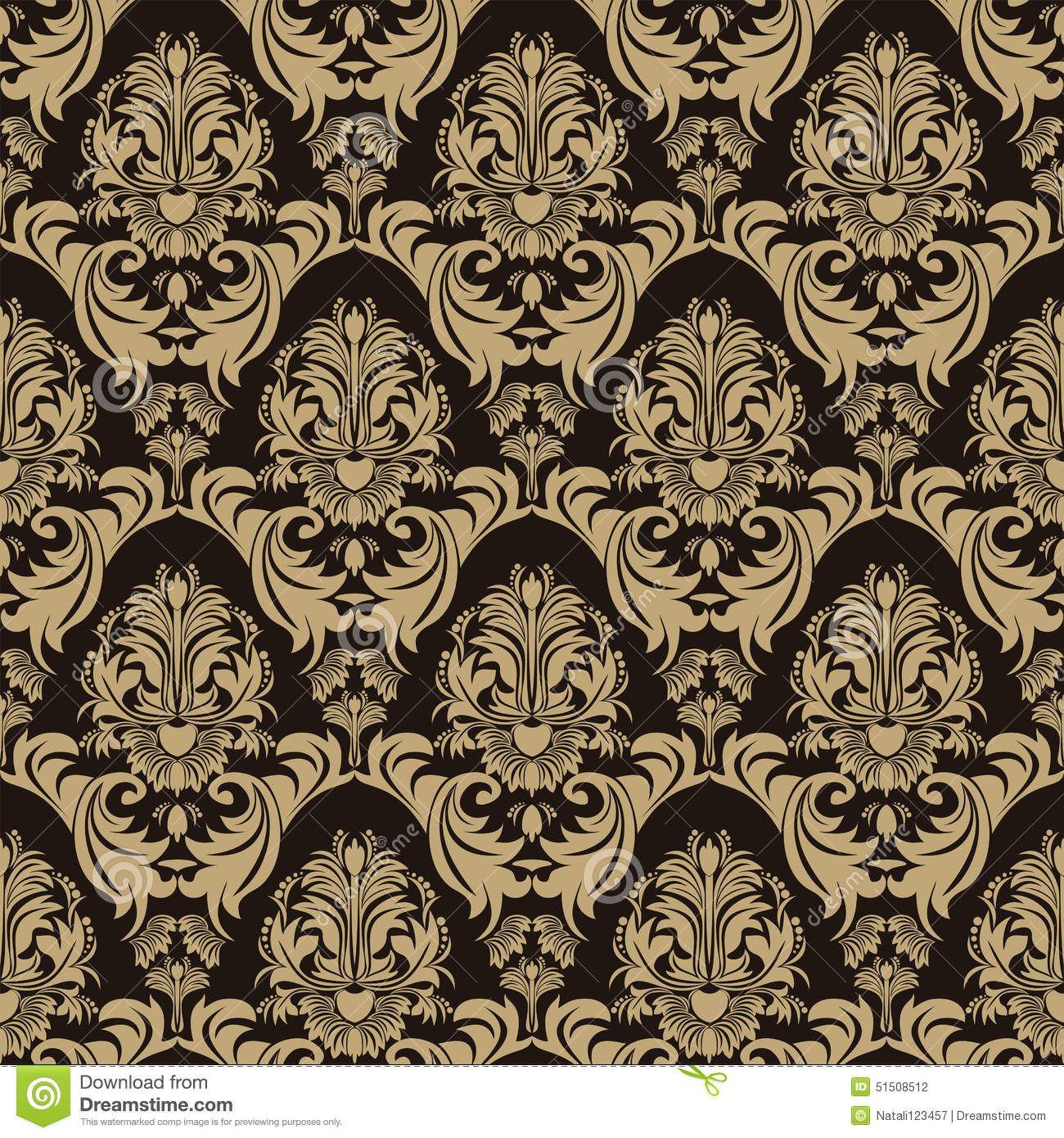 Seamless ornate floral Pattern on the chocolate Background