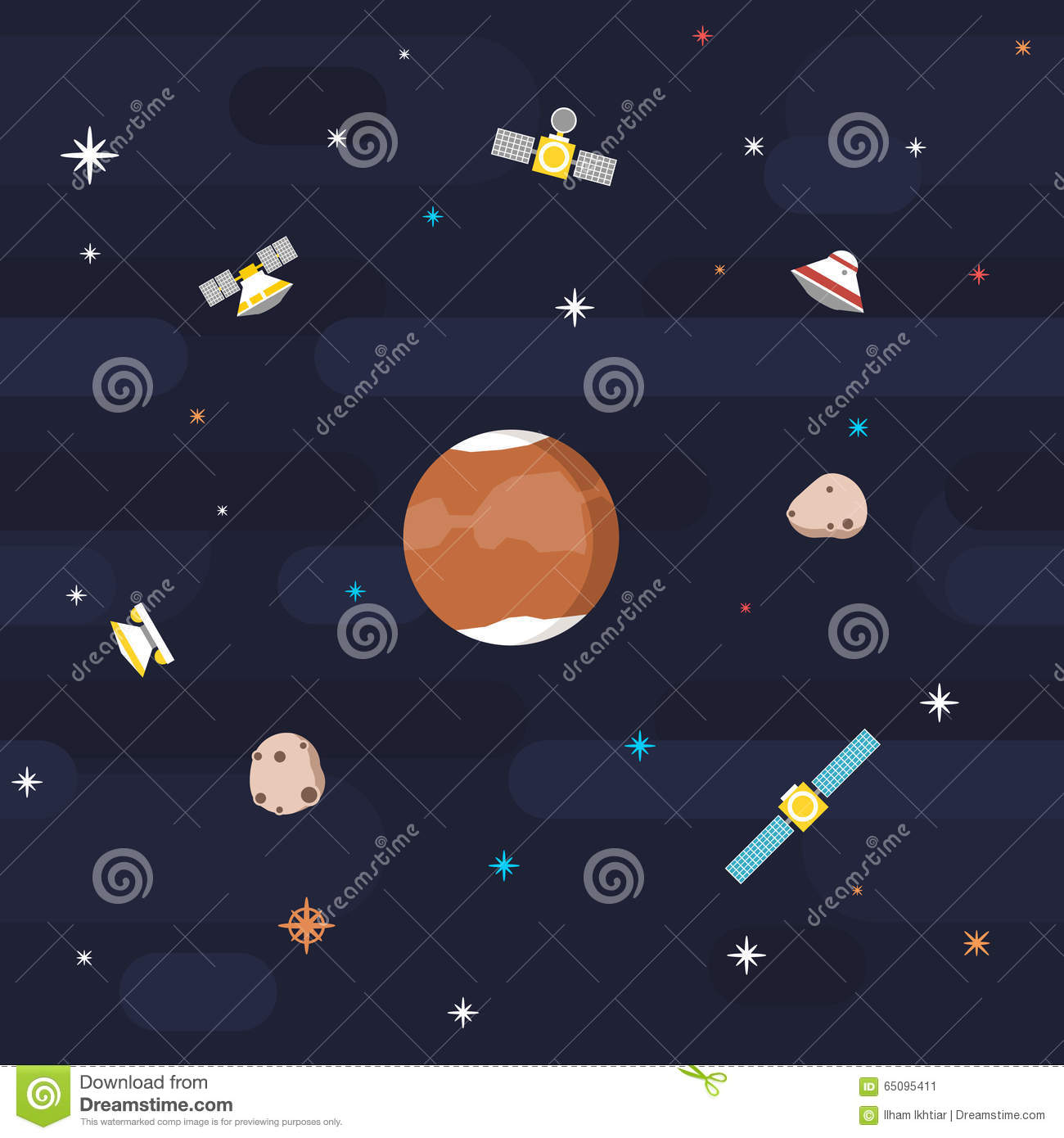 Seamless outer space pattern planet mars in flat style for Outer space pattern
