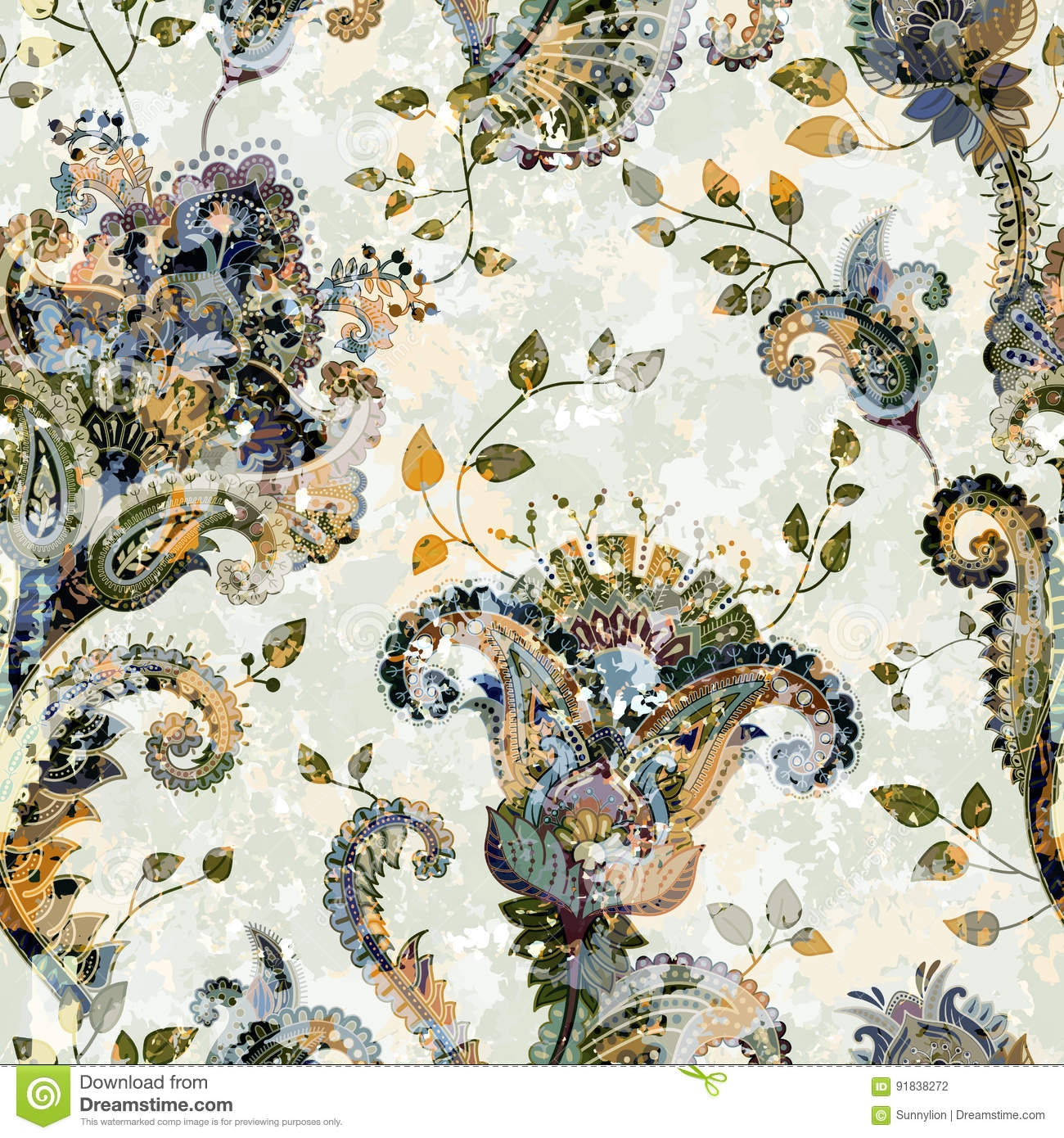 Seamless Paisley Background Floral Pattern Colorful Ornamental