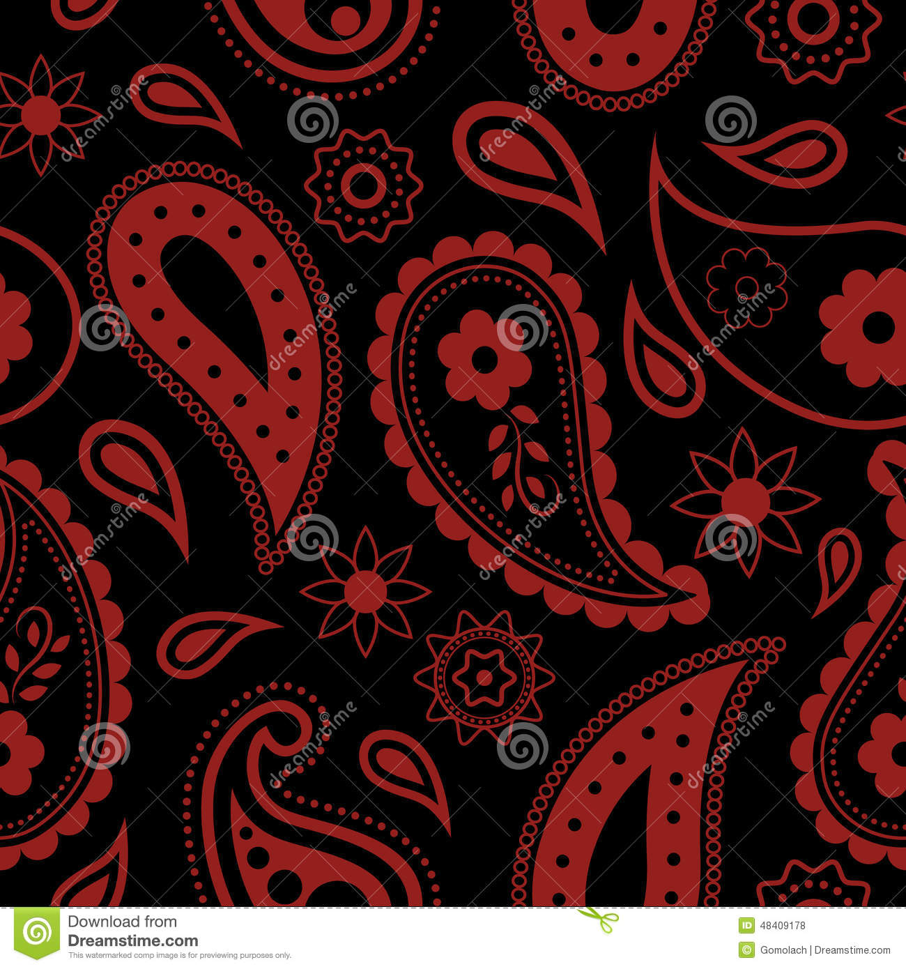 Seamless Paisley Background. Hand Drawn Vector Pattern ...