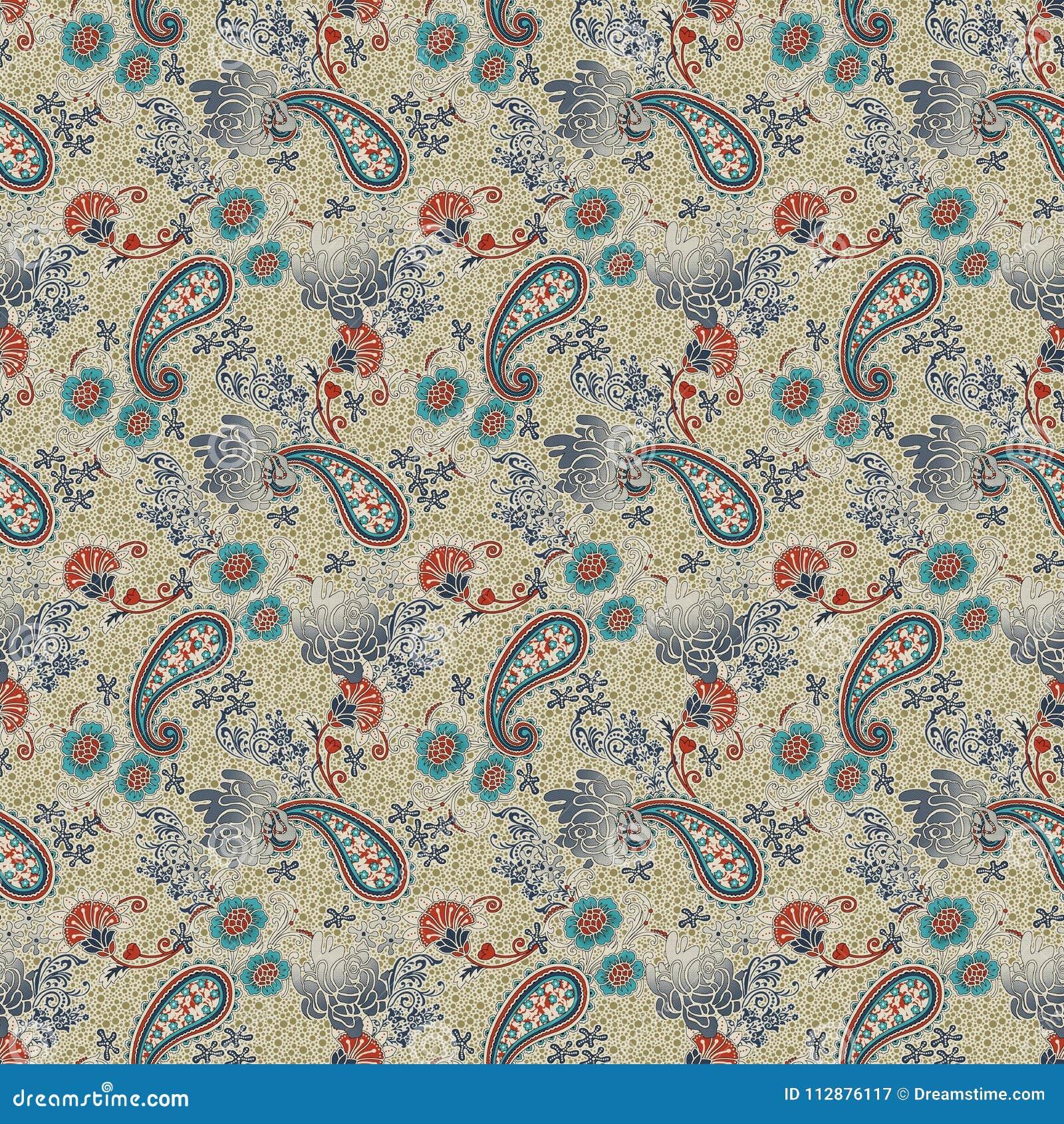 Beautiful Paisley Pattern In Javanese Style Batik. Stock