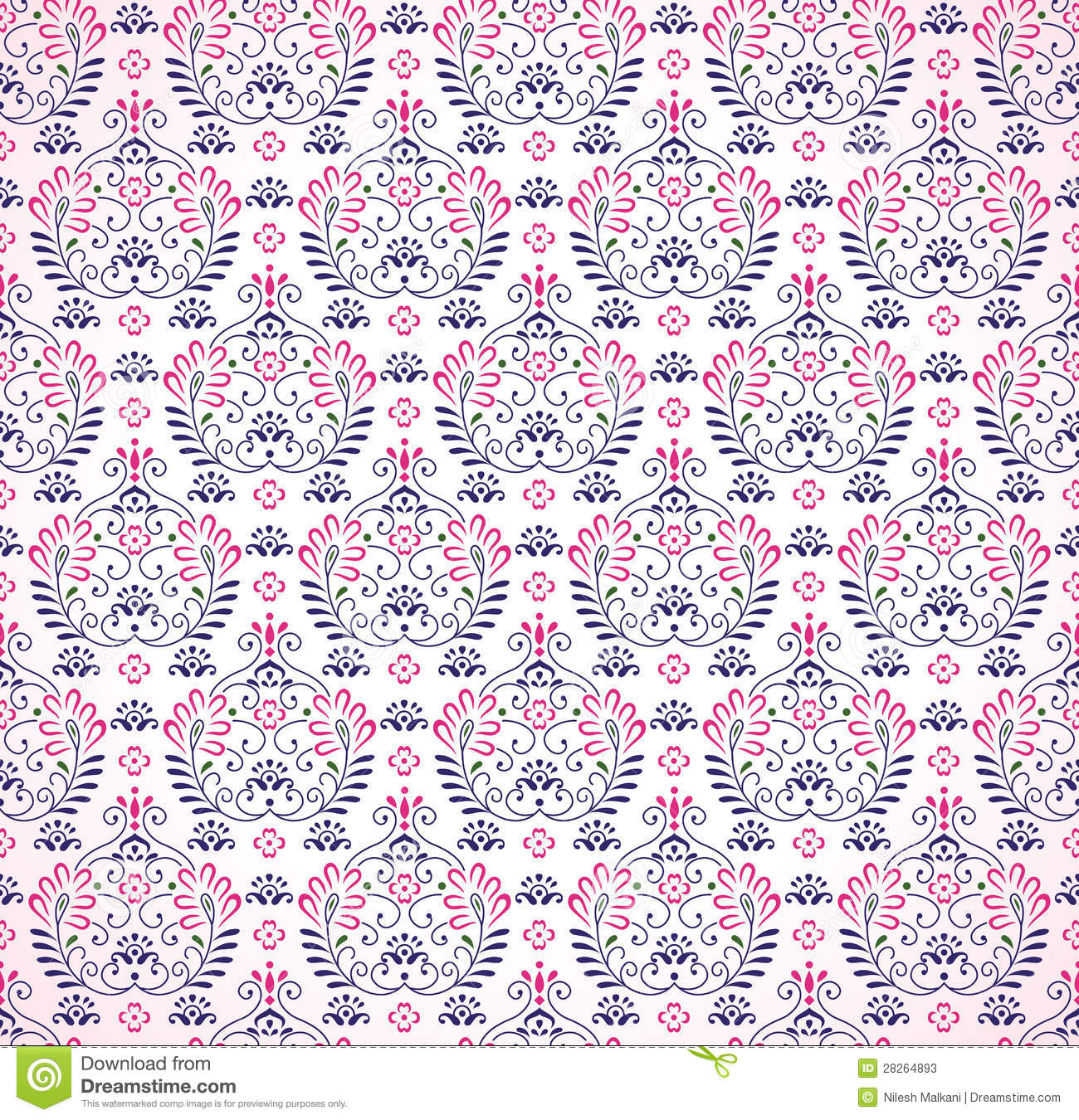 Seamless Paisley Pink Background Stock Vector ...