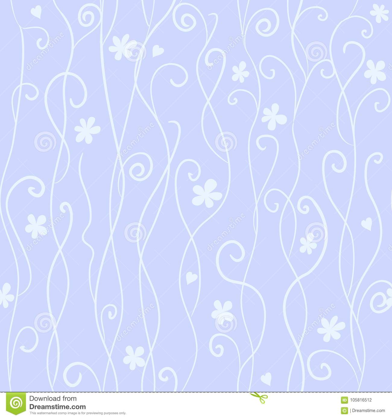 Seamless pattern with cute pink and black swirls and hearts
