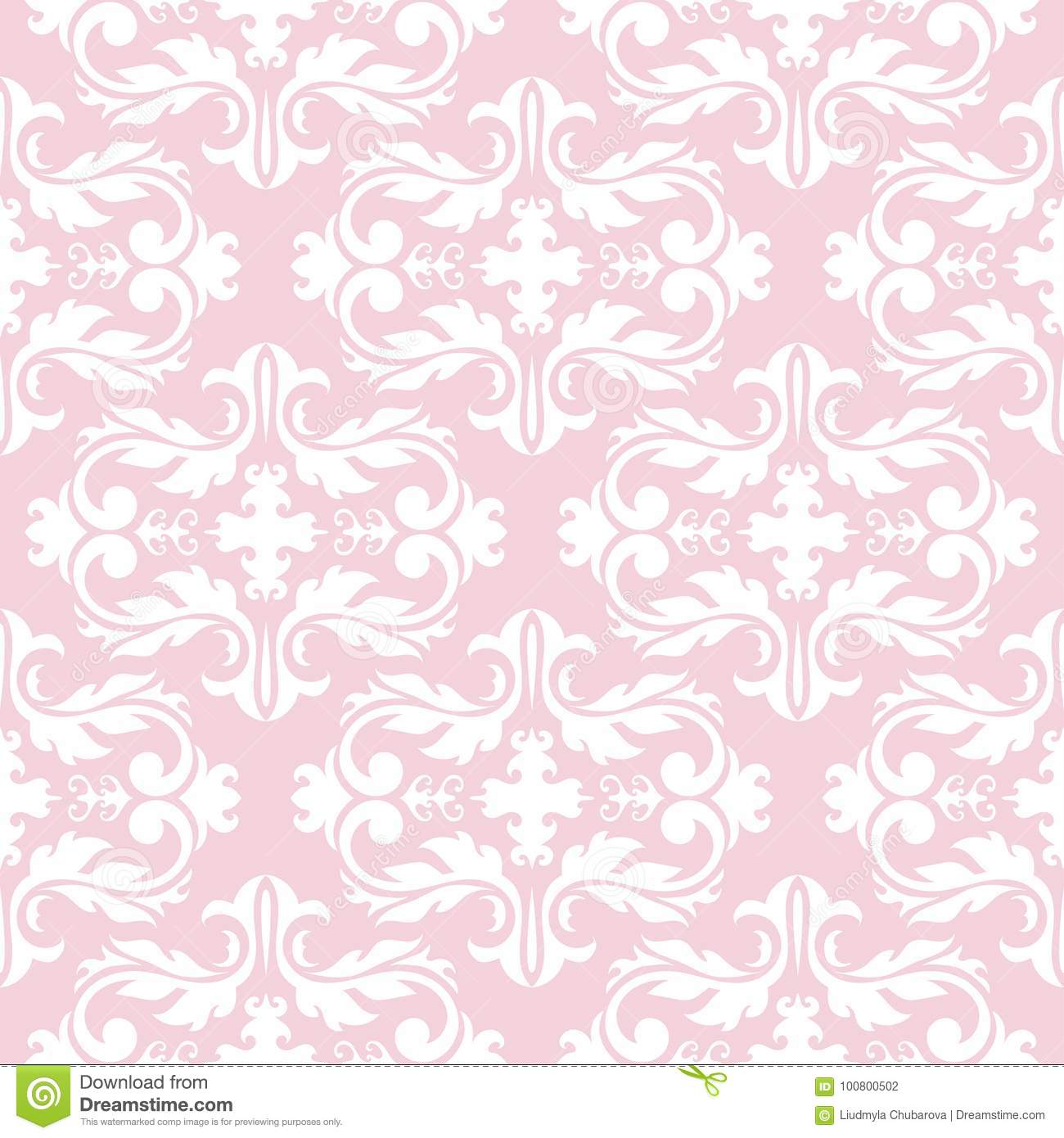 Seamless Pale Pink Pattern With White Wallpaper Ornaments