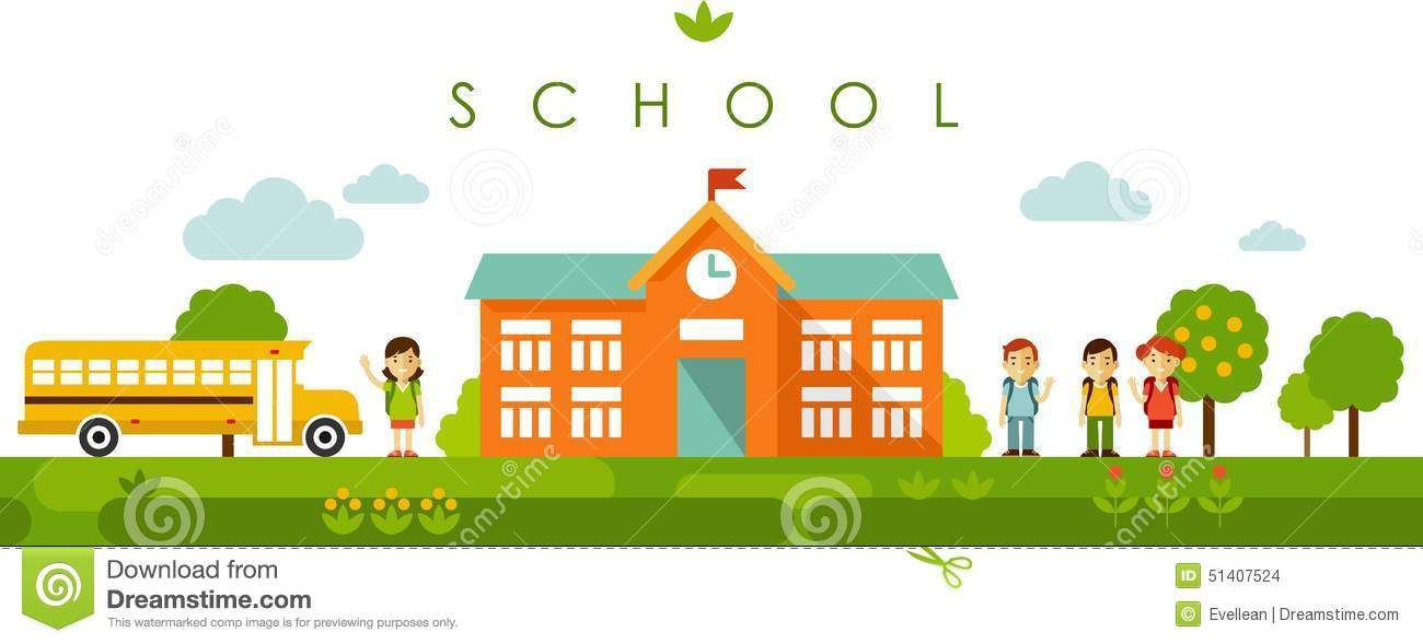 Seamless Panoramic Background With School Building In Flat ... Happy High School Student Clipart