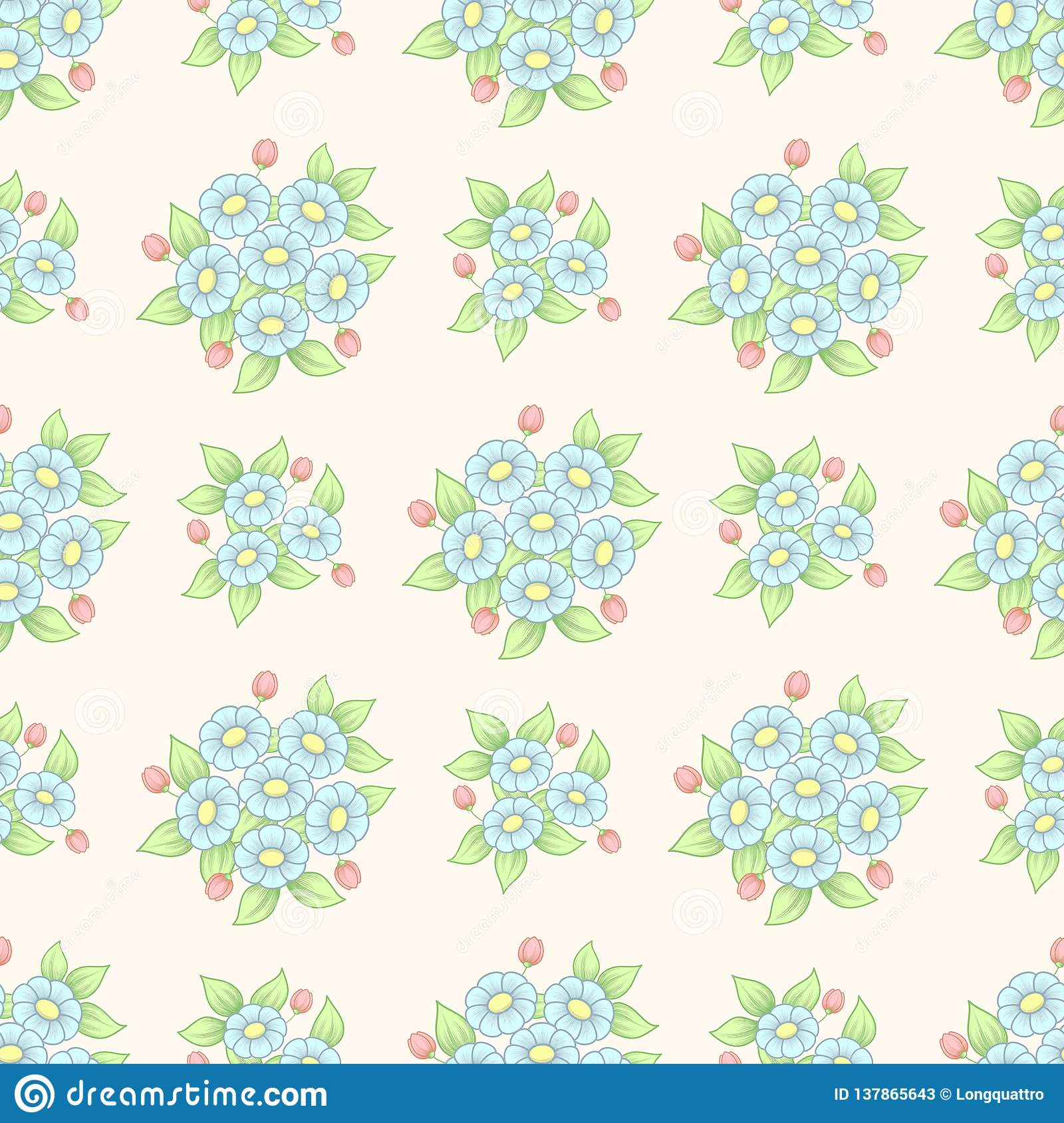 Seamless floral background with pastel color daisy