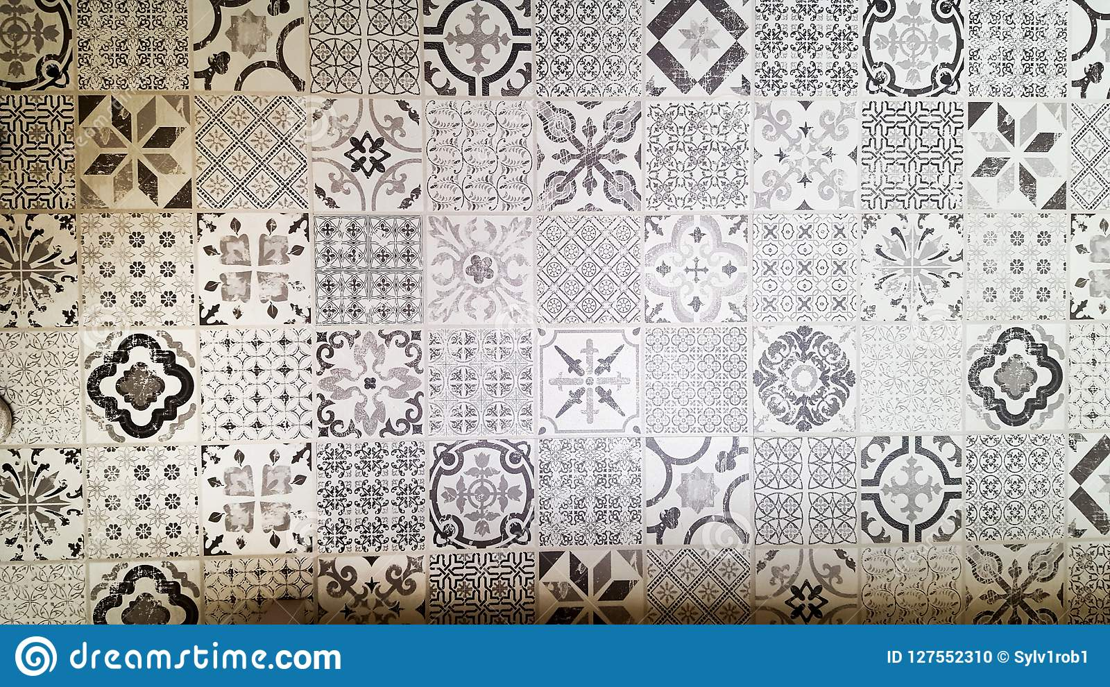 Seamless Patchwork Pattern From Dark Grey And White Moroccan