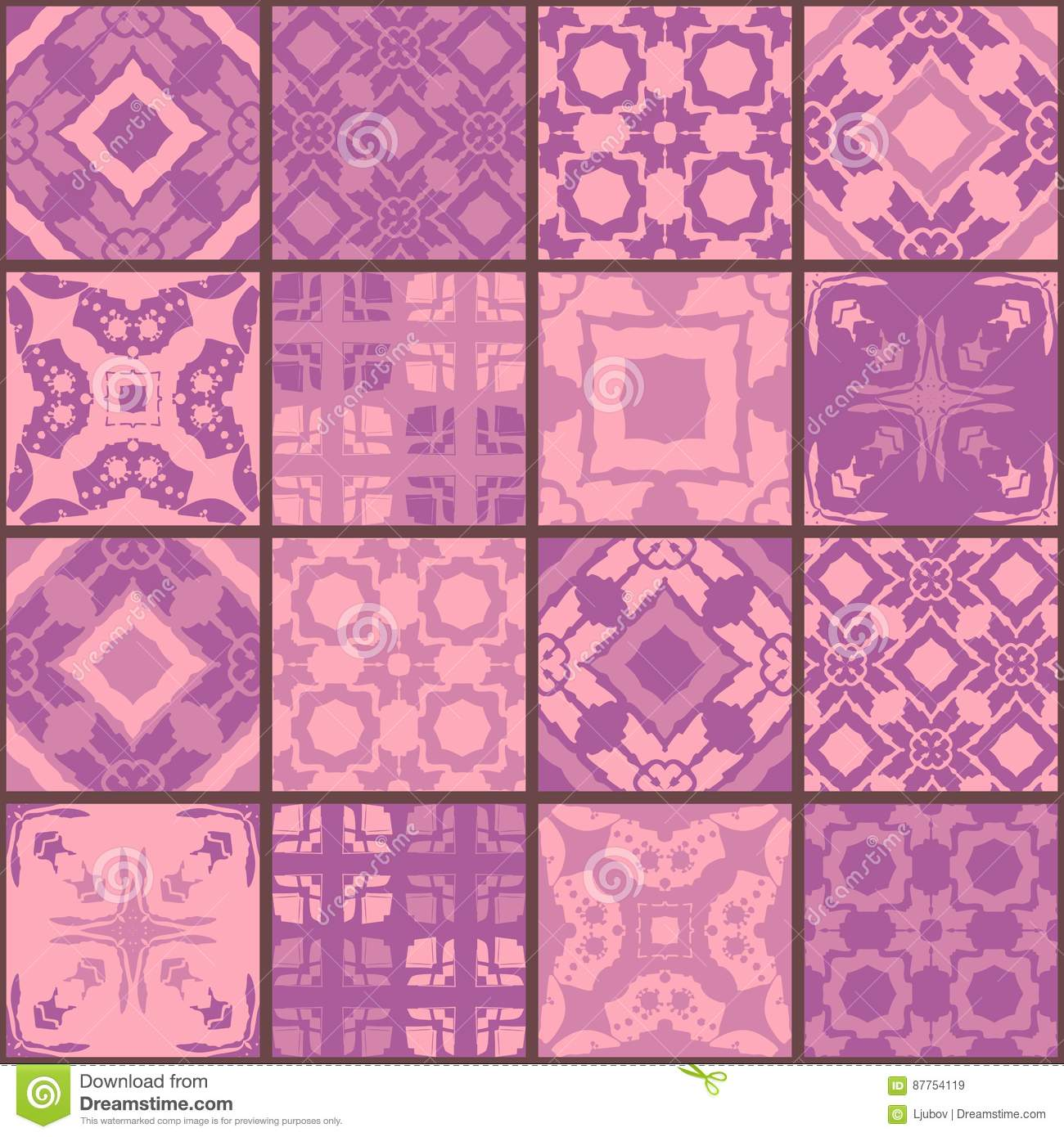 Seamless Patchwork Pattern From Square Patches In Purple Tones