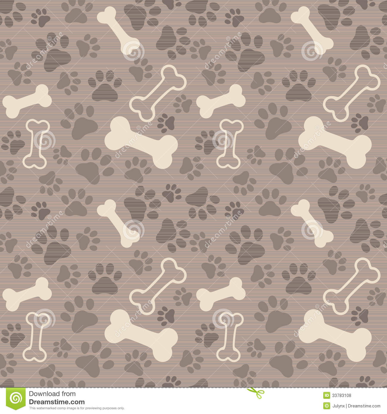 Seamless Patern - Pet Paw Print And Bone Royalty Free ...