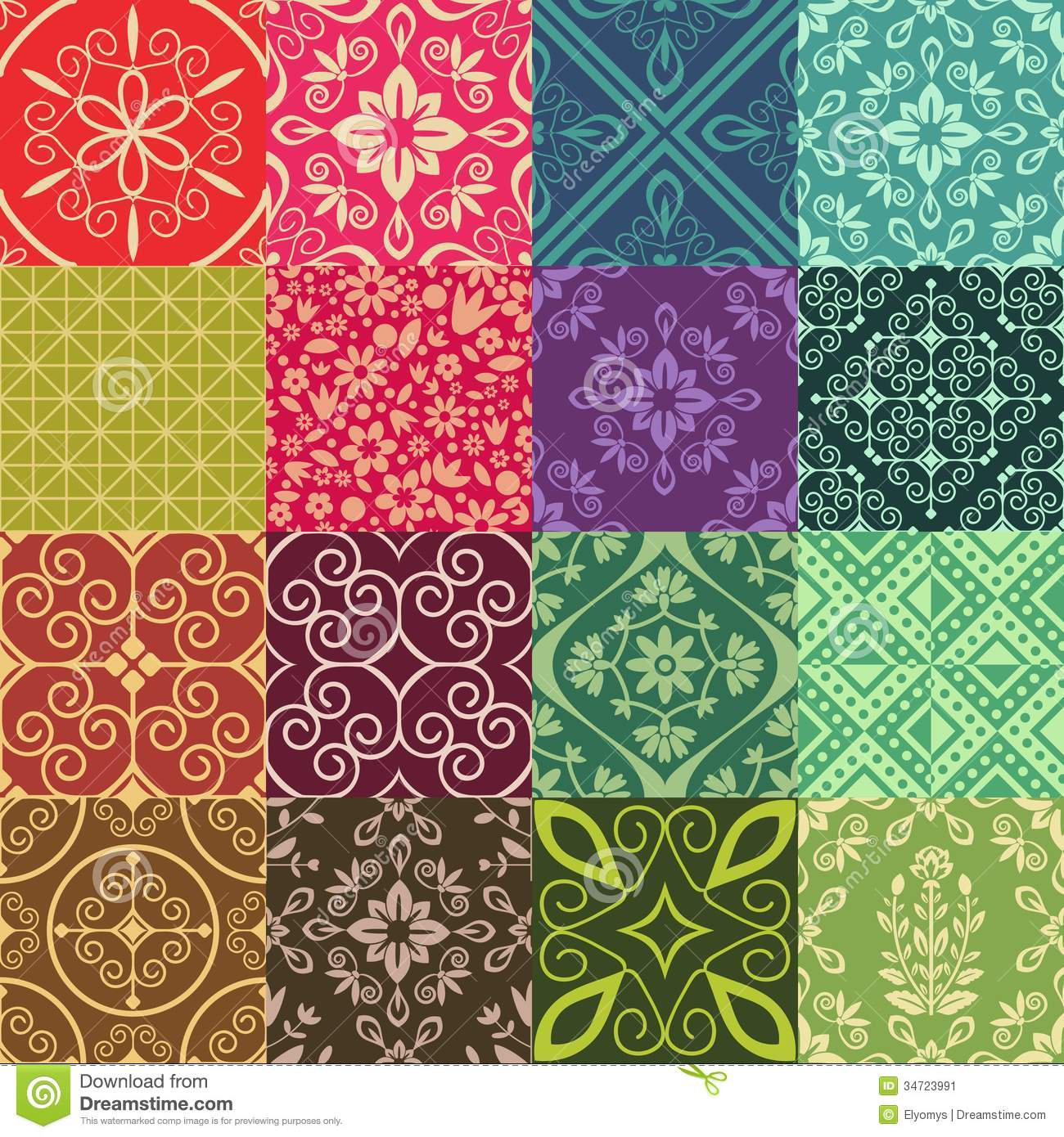 Stock Image Seamless Pattens Patten Collection Damask Ornament Image34723991 on Green Spiral Fabric